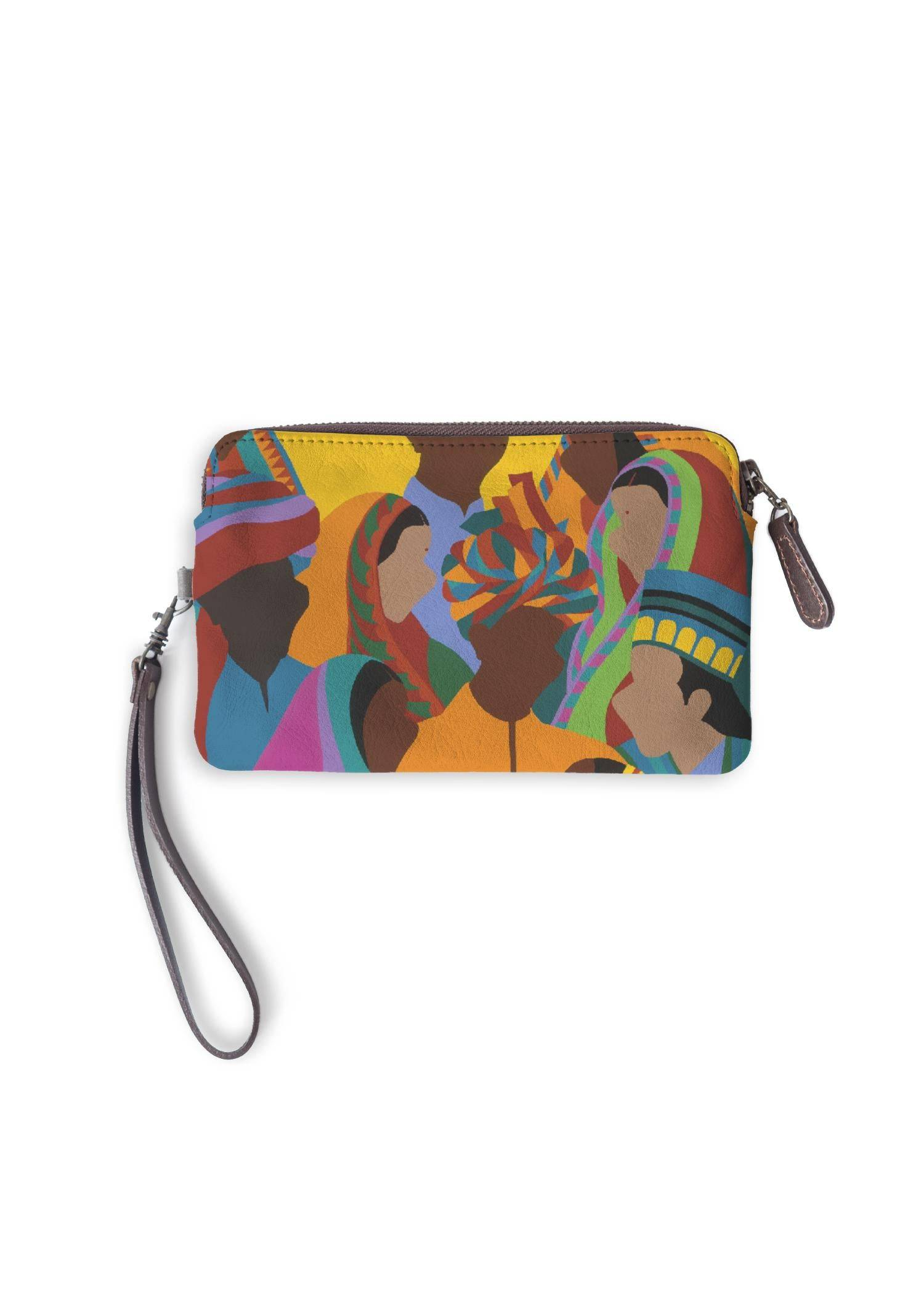 Synthia Saint James Leather Statement Clutch - Diwali by Synthia Saint James Original Artist  - Size: One Size