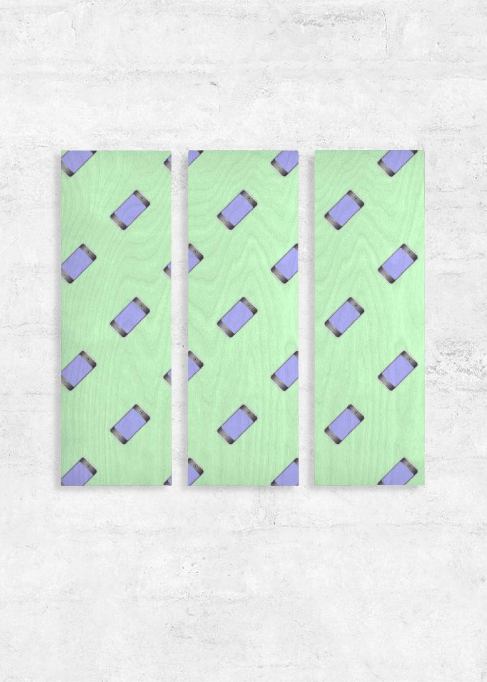 VIDA Wood Wall Art - Set of 3 - Mobile Phones On Green in Green by VIDA Original Artist  - Size: One Size
