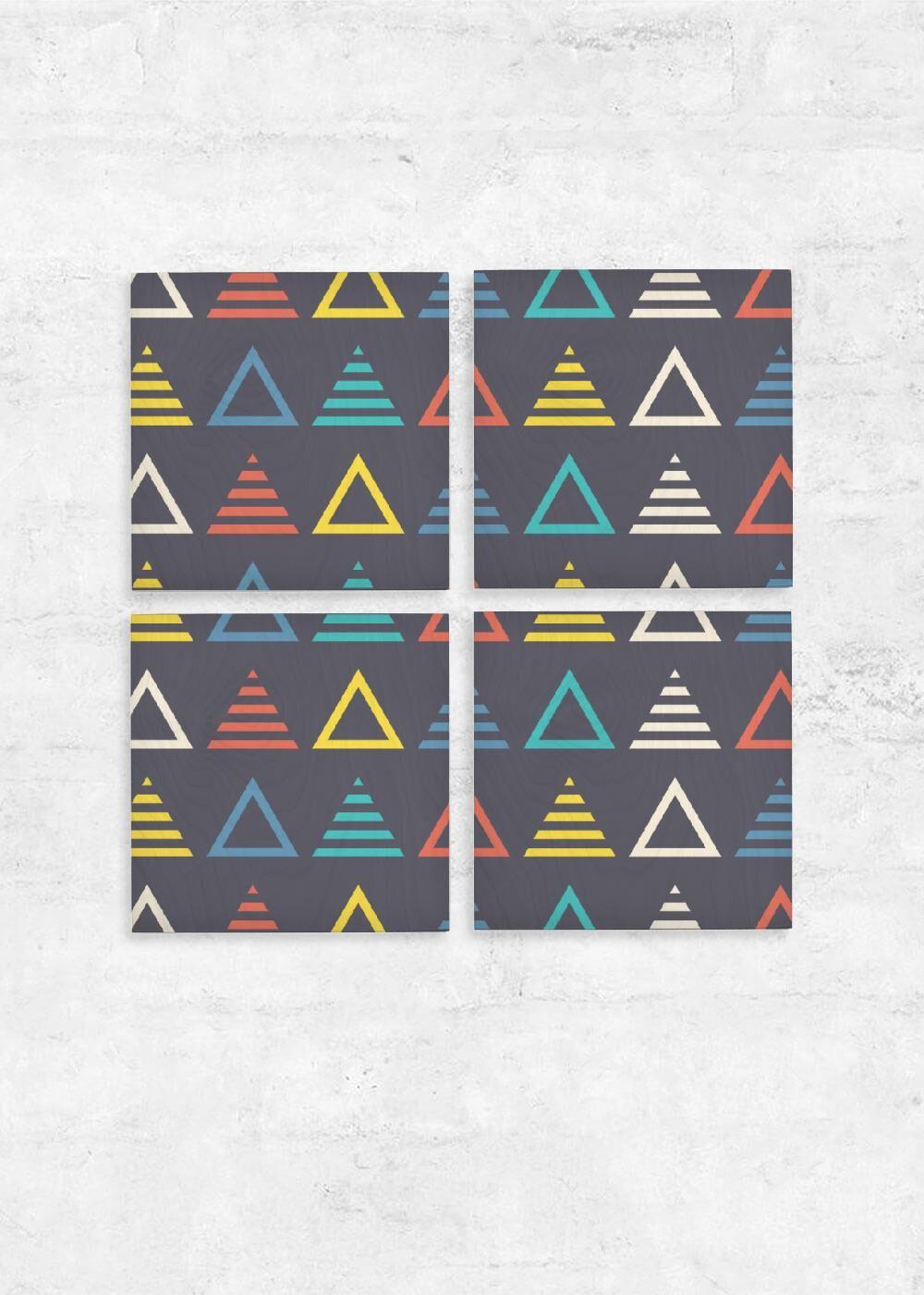 VIDA Wood Wall Art - Set of 4 - Music Symmetric Triangle by VIDA Original Artist  - Size: One Size