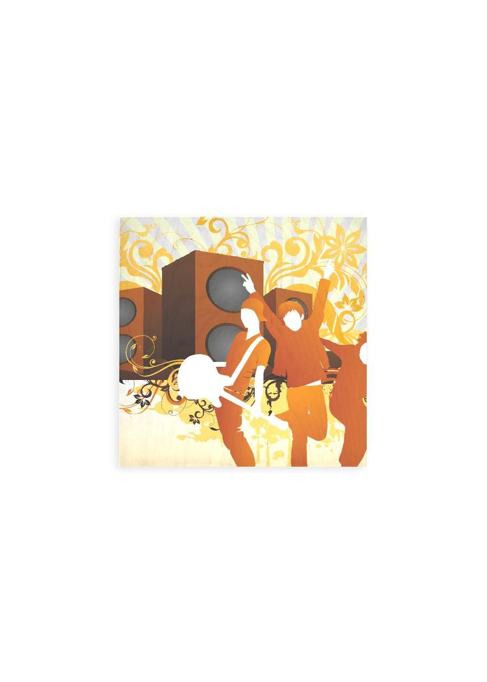 VIDA Wood Wall Art - 12x12 - Music Background by VIDA Original Artist  - Size: Small