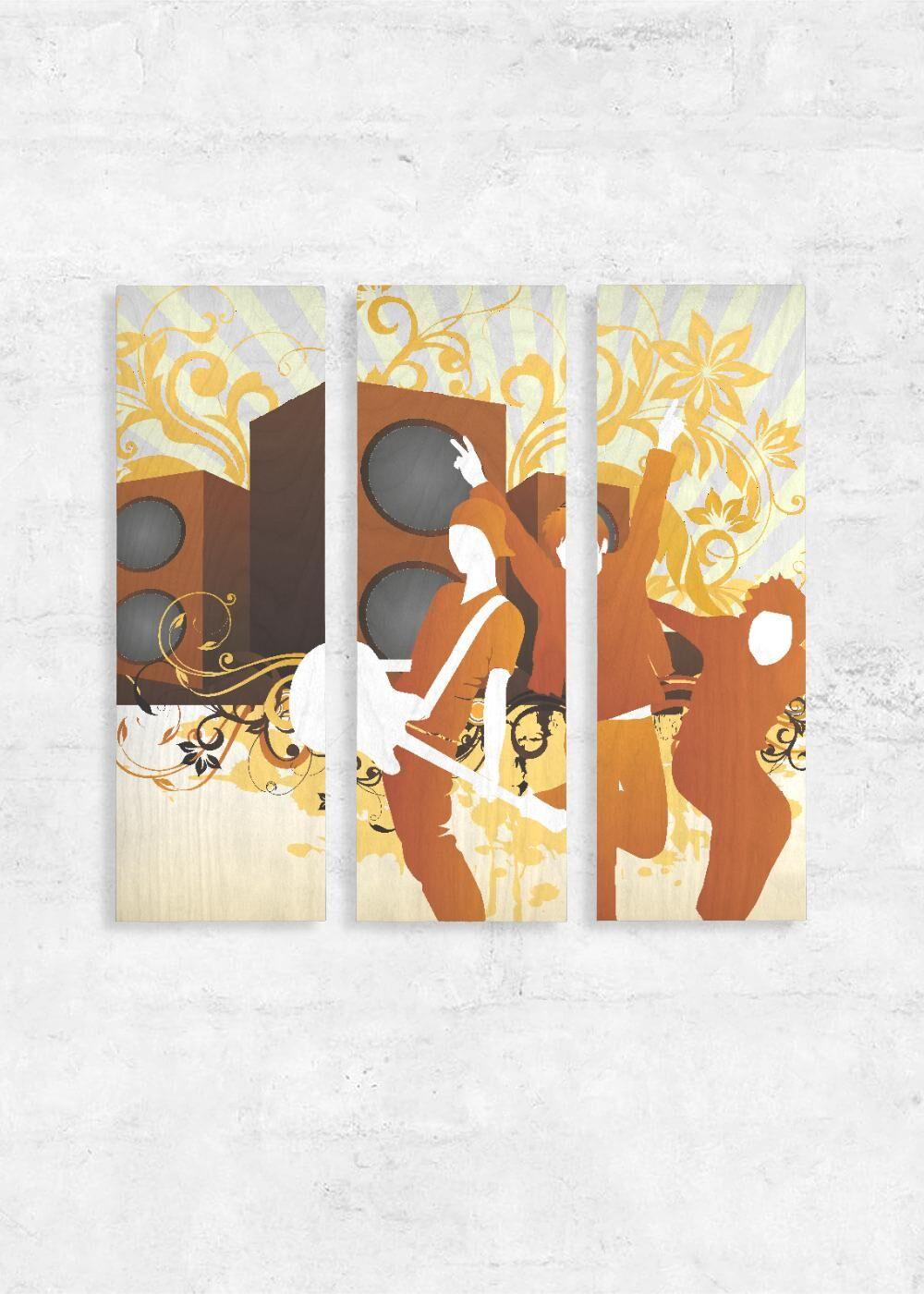 VIDA Wood Wall Art - Set of 3 - Music Background by VIDA Original Artist  - Size: One Size