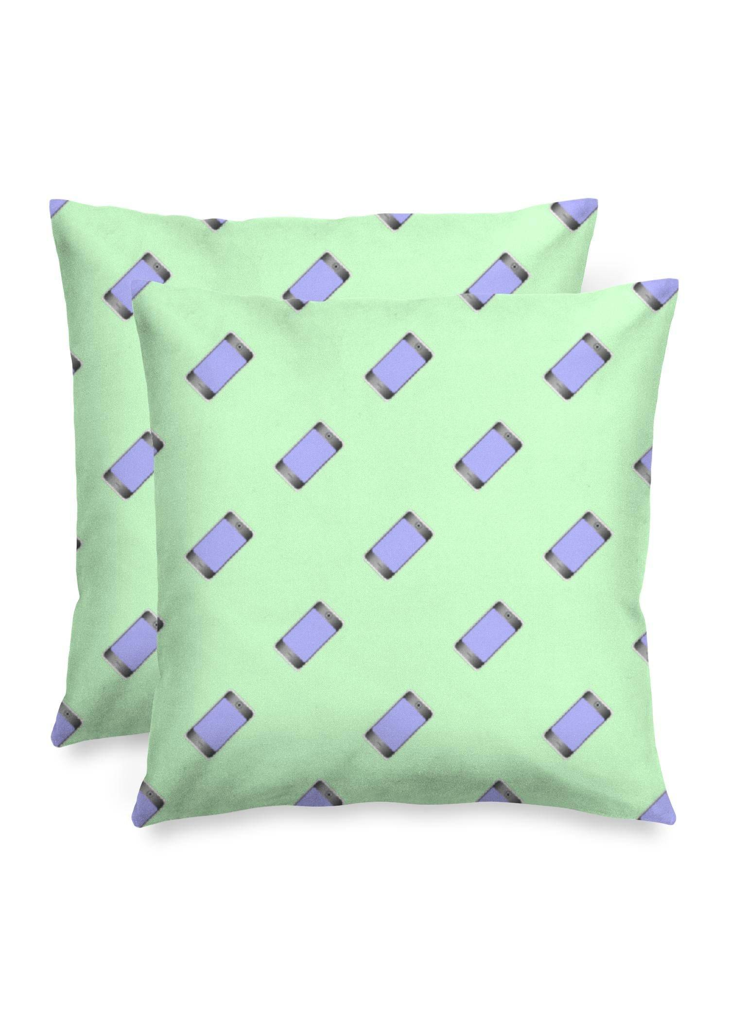 "VIDA Square Pillow - Mobile Phones On Green in Green by VIDA Original Artist  - Size: Luster / 16"" / Set"