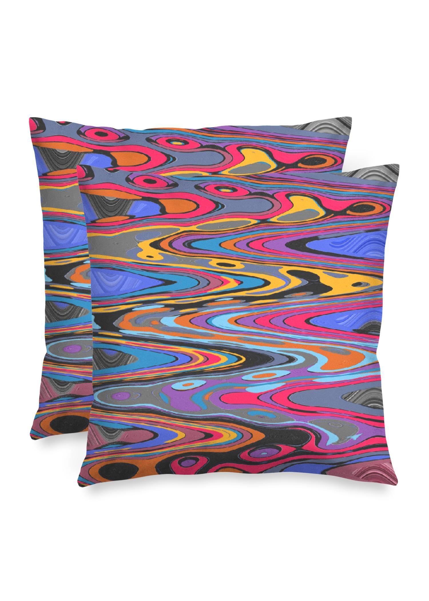 "VIDA Square Pillow - Vibration Pop Music 2021 by VIDA Original Artist  - Size: Luster / 16"" / Set"