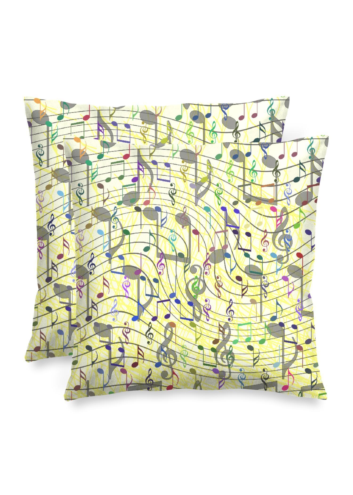 "VIDA Square Pillow - Chaotic Music Notation by VIDA Original Artist  - Size: Luster / 20"" / Set"