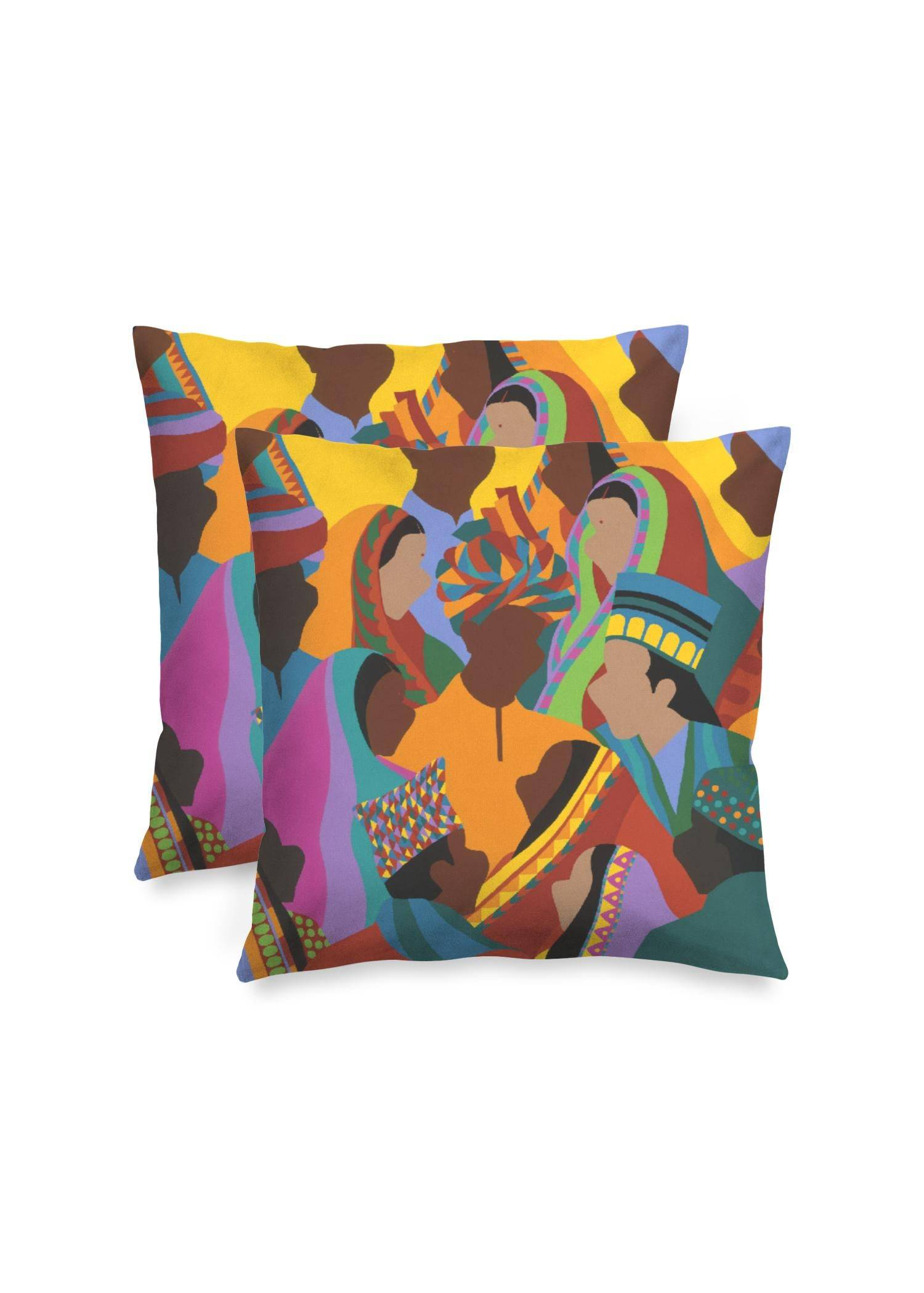 "Synthia Saint James Square Pillow - Diwali by Synthia Saint James Original Artist  - Size: Matte / 16"" / Set"