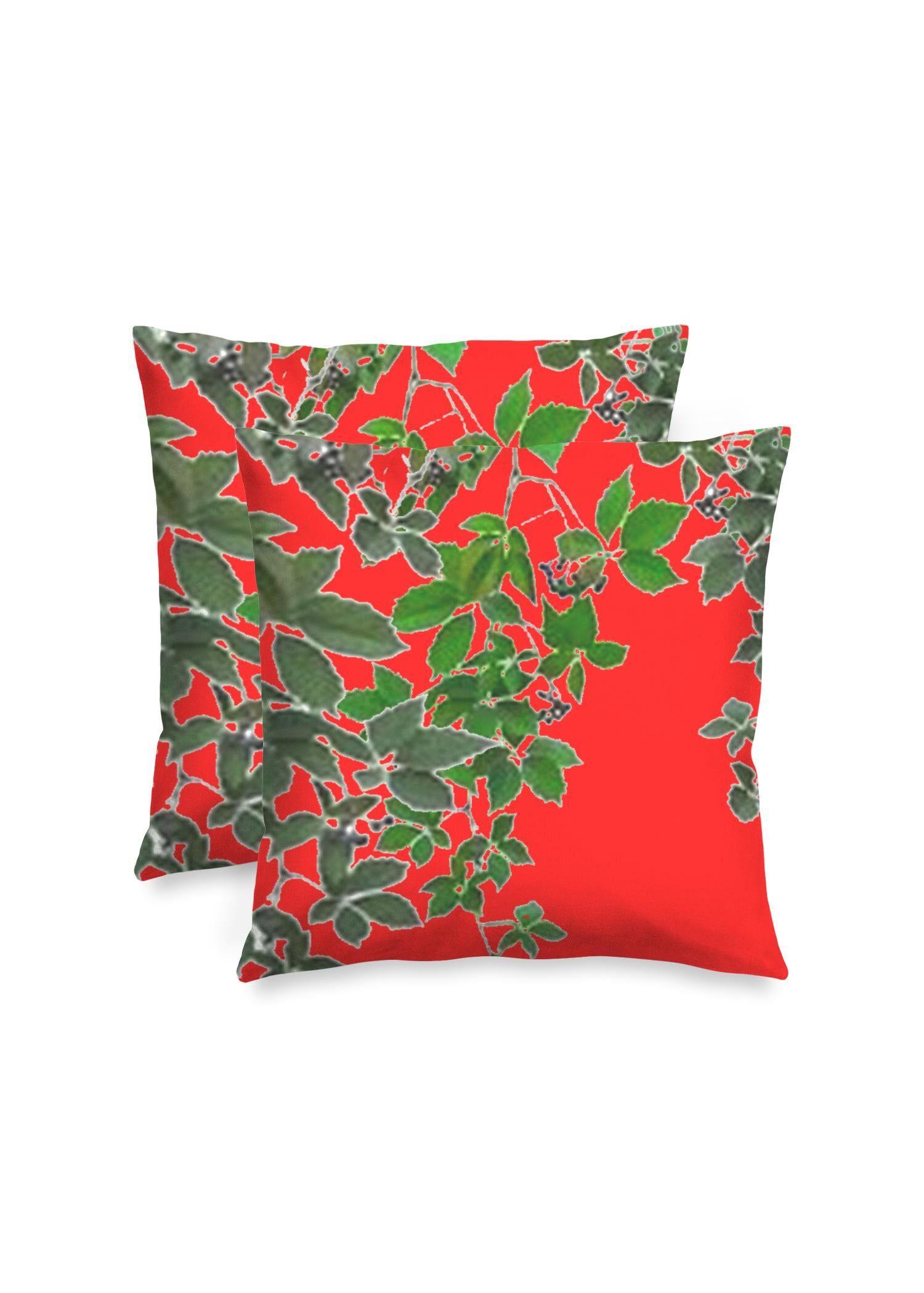 "VIDA Square Pillow - Red Hanging Home Decor  2 by VIDA Original Artist  - Size: Matte / 16"" / Set"