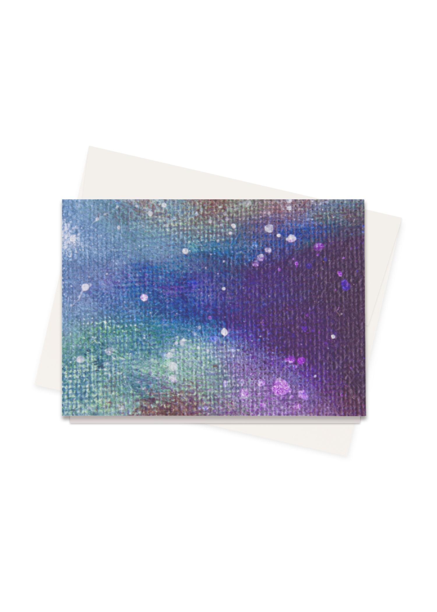 VIDA Greeting Cards Set - Cosmo Pillow in Blue/Purple by VIDA Original Artist  - Size: Set of 8
