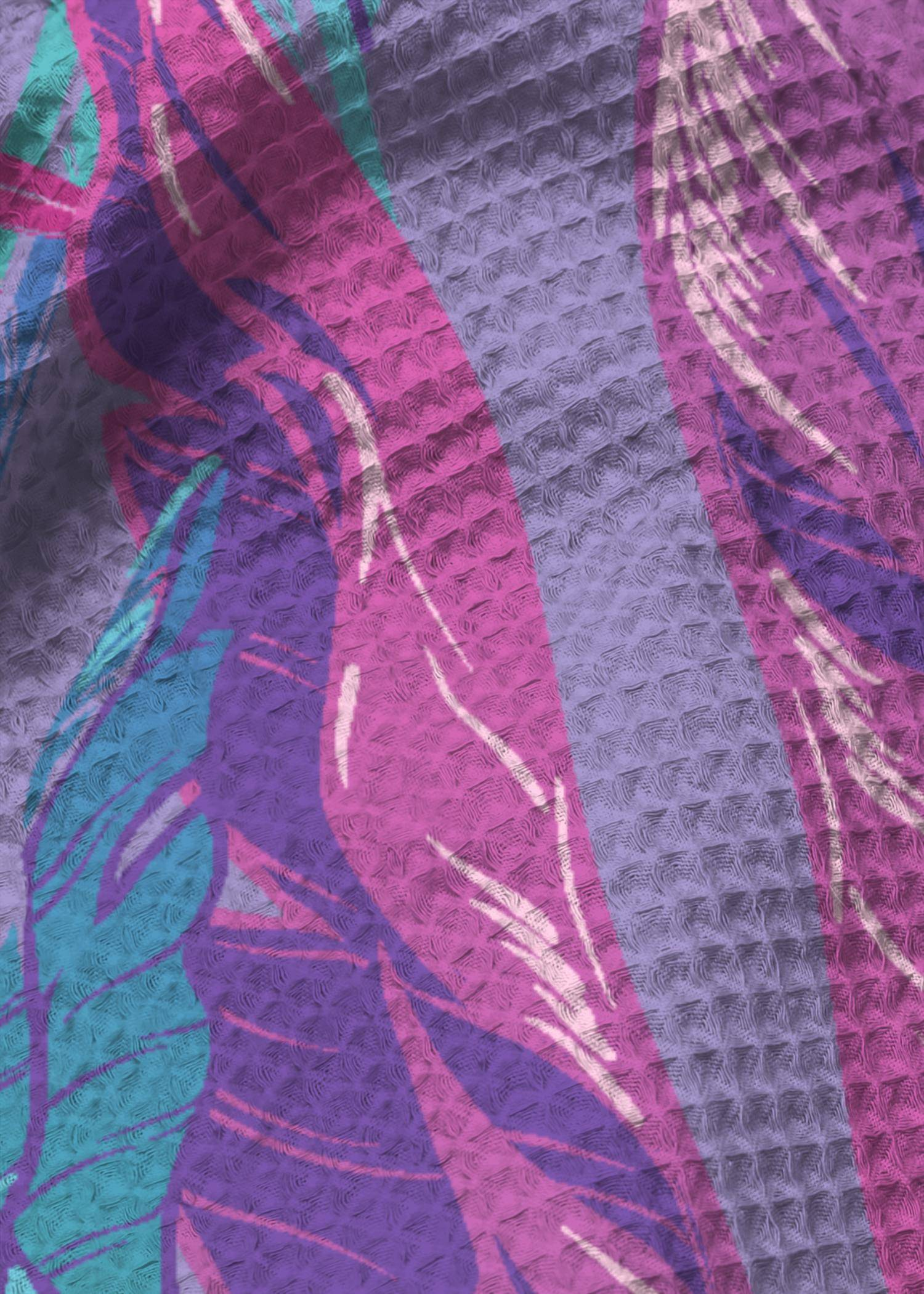 VIDA Tea Towel Set of 2 - Dahlia Garden In Violet by VIDA Original Artist  - Size: Waffle set