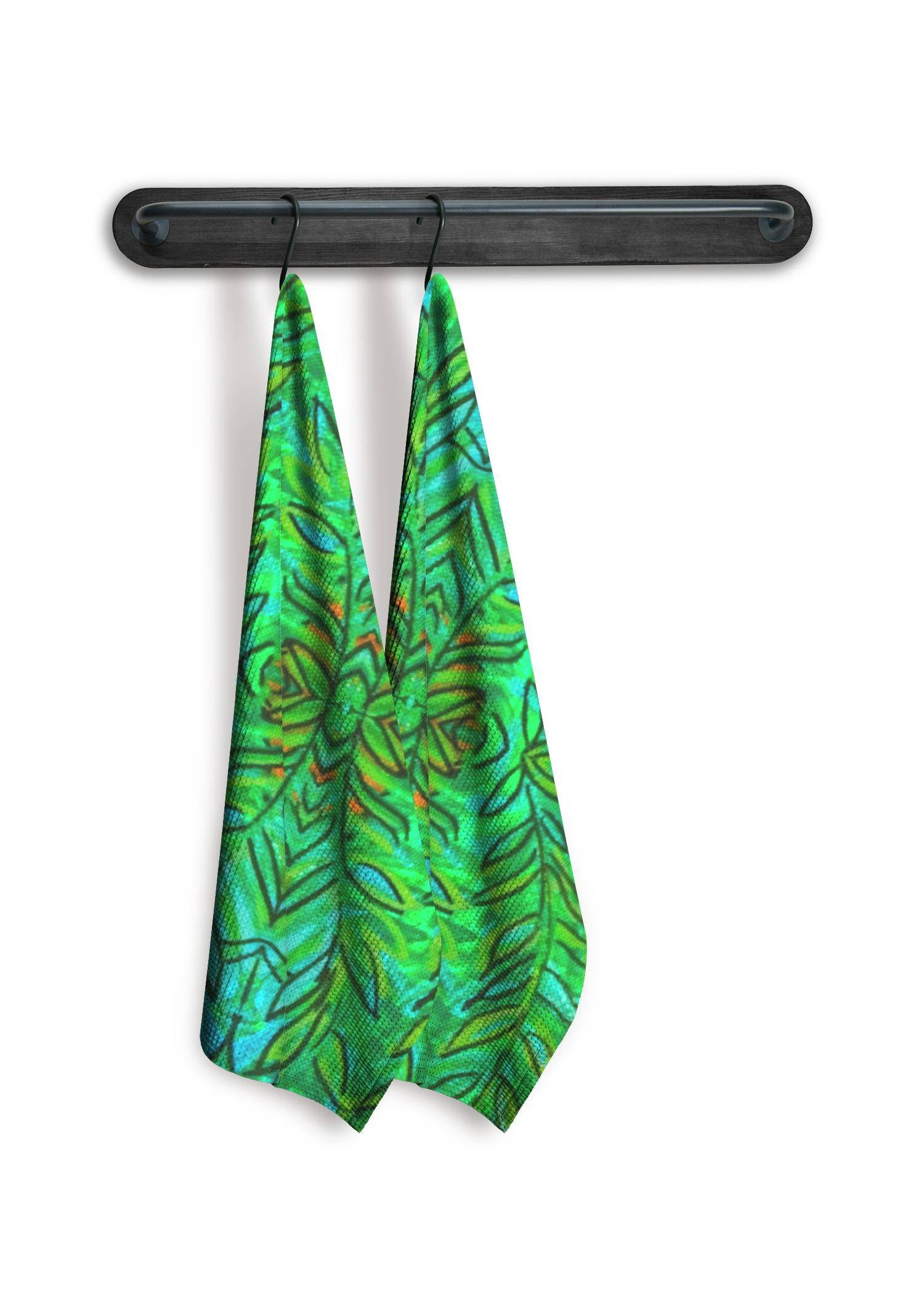 VIDA Tea Towel Set of 2 - Fern Garden by VIDA Original Artist  - Size: Mixed set