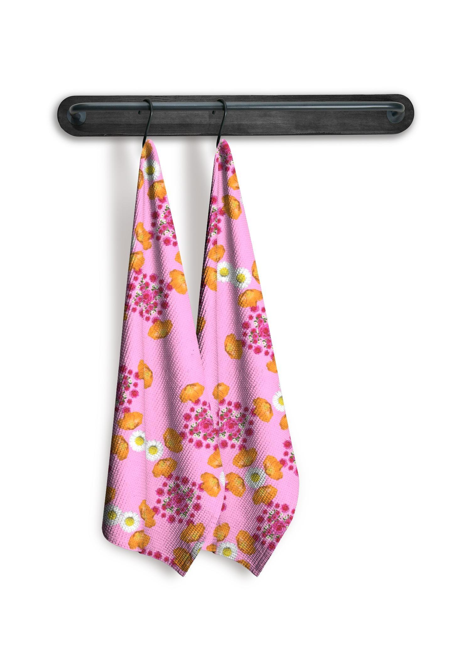 VIDA Tea Towel Set of 2 - Pink Garden Flowers Art by VIDA Original Artist  - Size: Waffle set