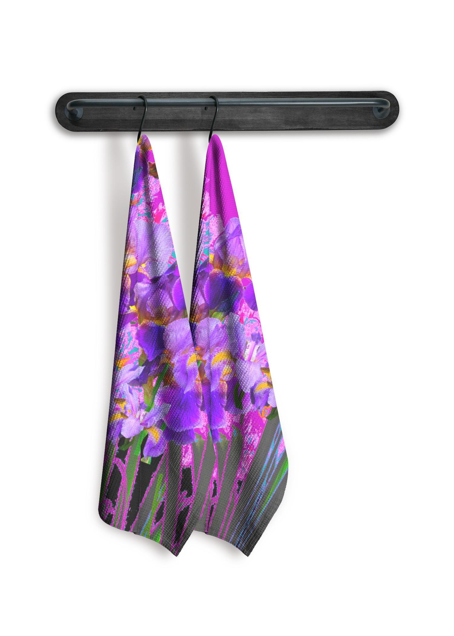 VIDA Tea Towel Set of 2 - Purple Garden Iris Art by VIDA Original Artist  - Size: Plain set