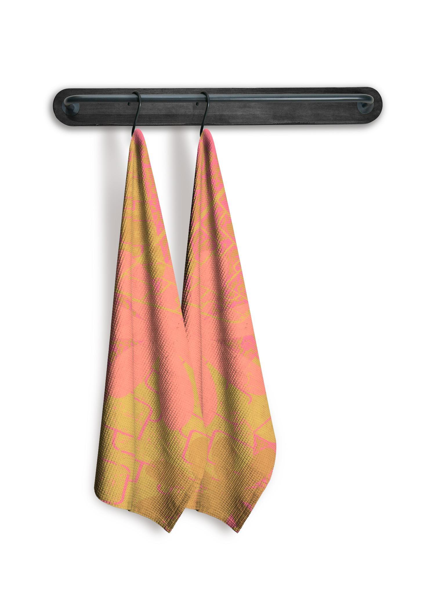 VIDA Tea Towel Set of 2 - Garden Trellis; Rose Gold by VIDA Original Artist  - Size: Mixed set