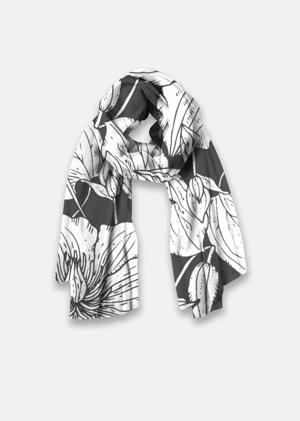 VIDA Oversized Merino Wool - Black & White Garden by VIDA Original Artist  - Size: One Size