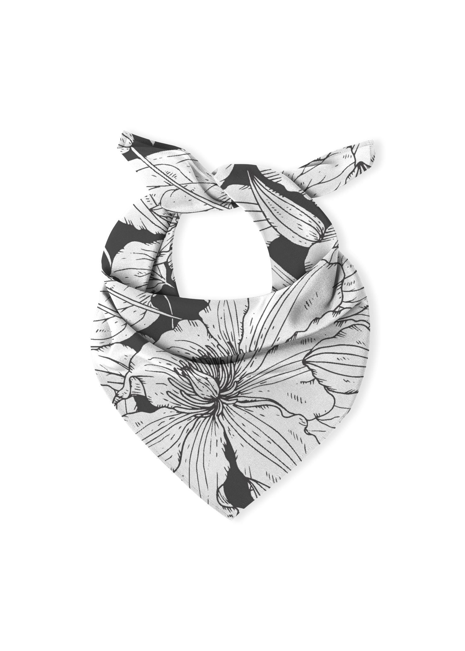VIDA Multi-Use Cotton Scarf - Black & White Garden by VIDA Original Artist  - Size: Cotton