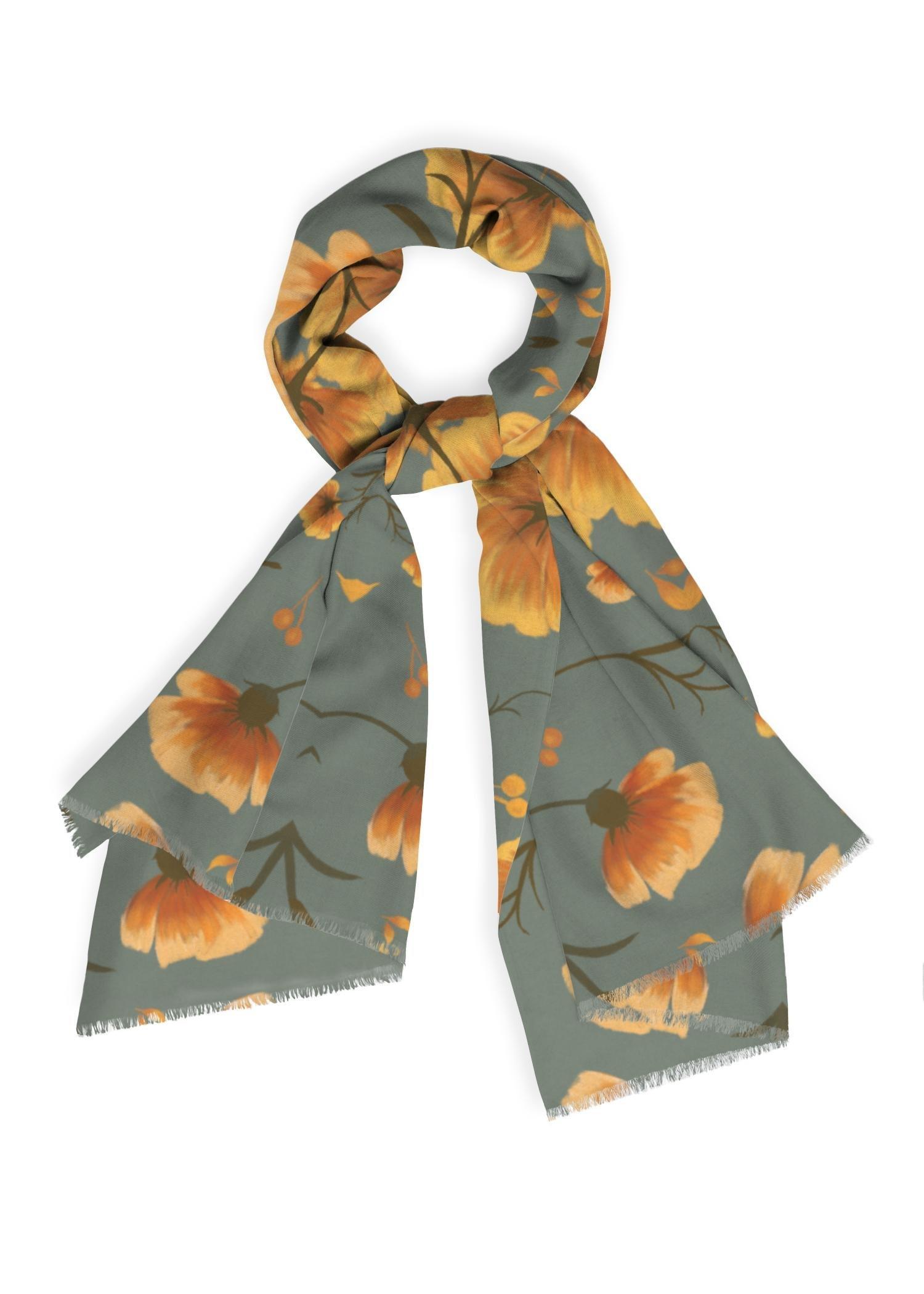 VIDA Cashmere Silk Scarf - Autumn Garden Ii by VIDA Original Artist  - Size: One Size