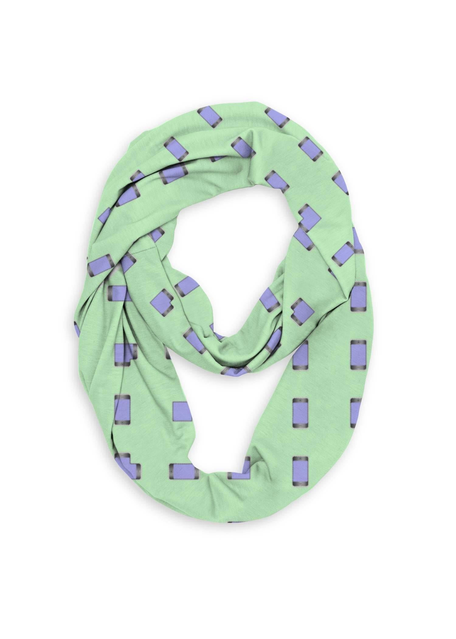 VIDA Infinity Eco Scarf - Mobile Phones On Green in Green by VIDA Original Artist  - Size: One Size