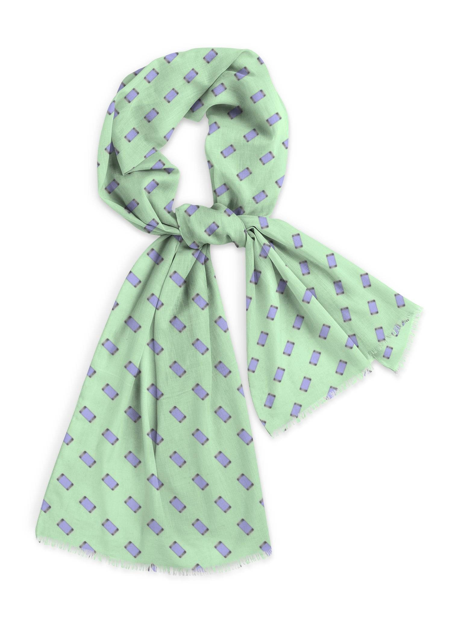 VIDA Natural Cotton Scarf - Mobile Phones On Green in Green by VIDA Original Artist  - Size: One Size