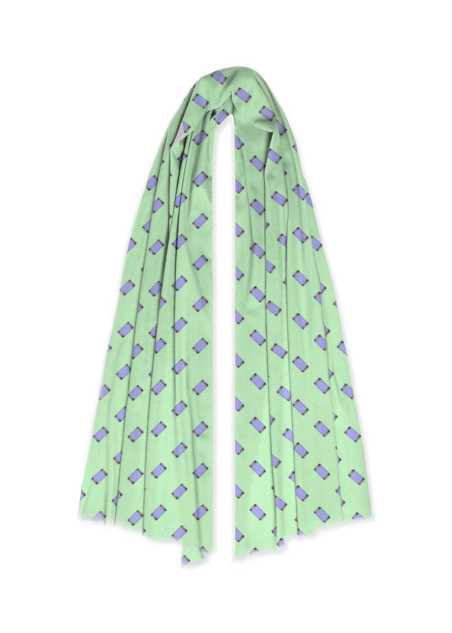 VIDA 100% Cashmere Scarf - Mobile Phones On Green in Green by VIDA Original Artist  - Size: One Size