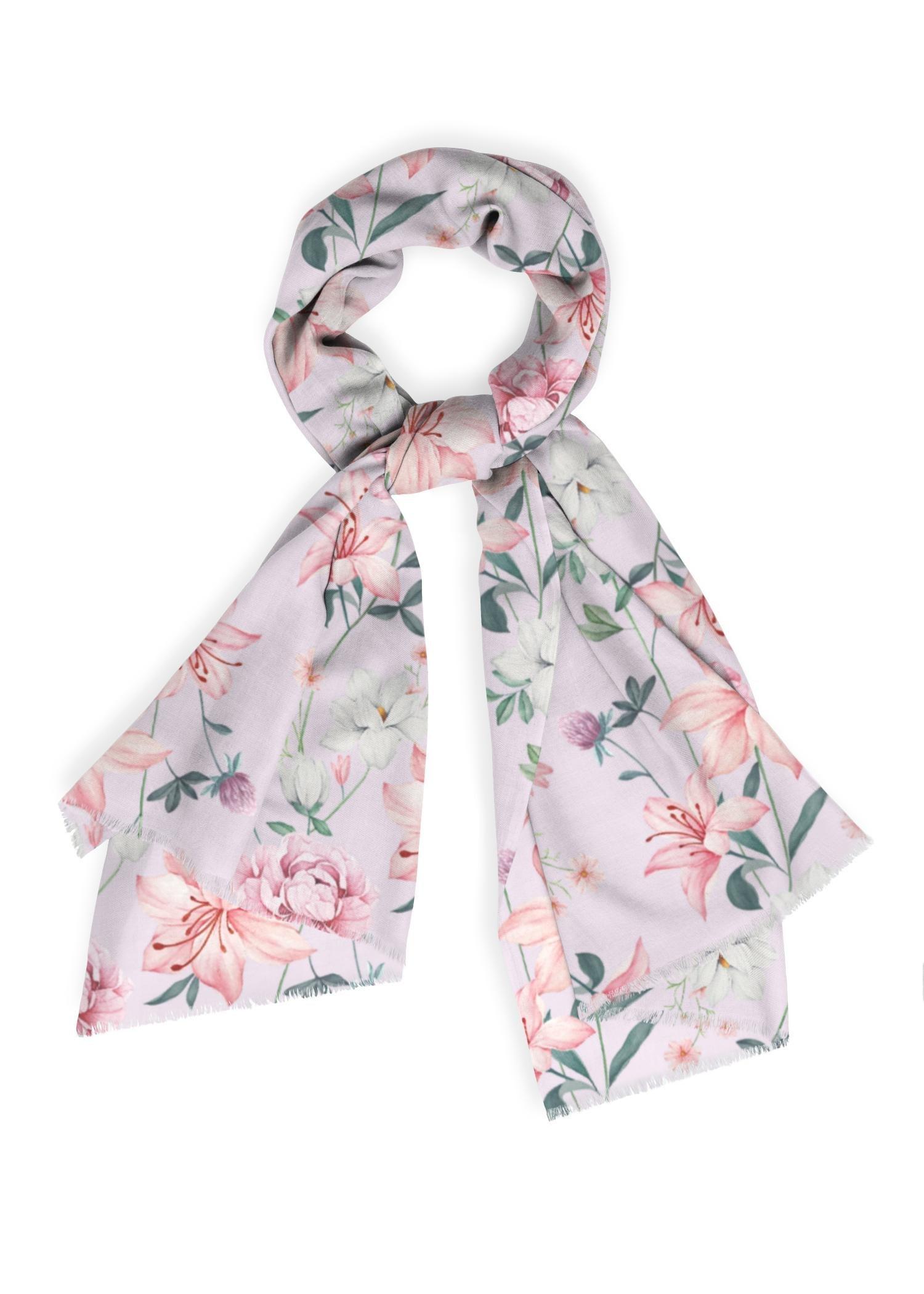 VIDA Cashmere Silk Scarf - Soft Lilac Garden by VIDA Original Artist  - Size: One Size