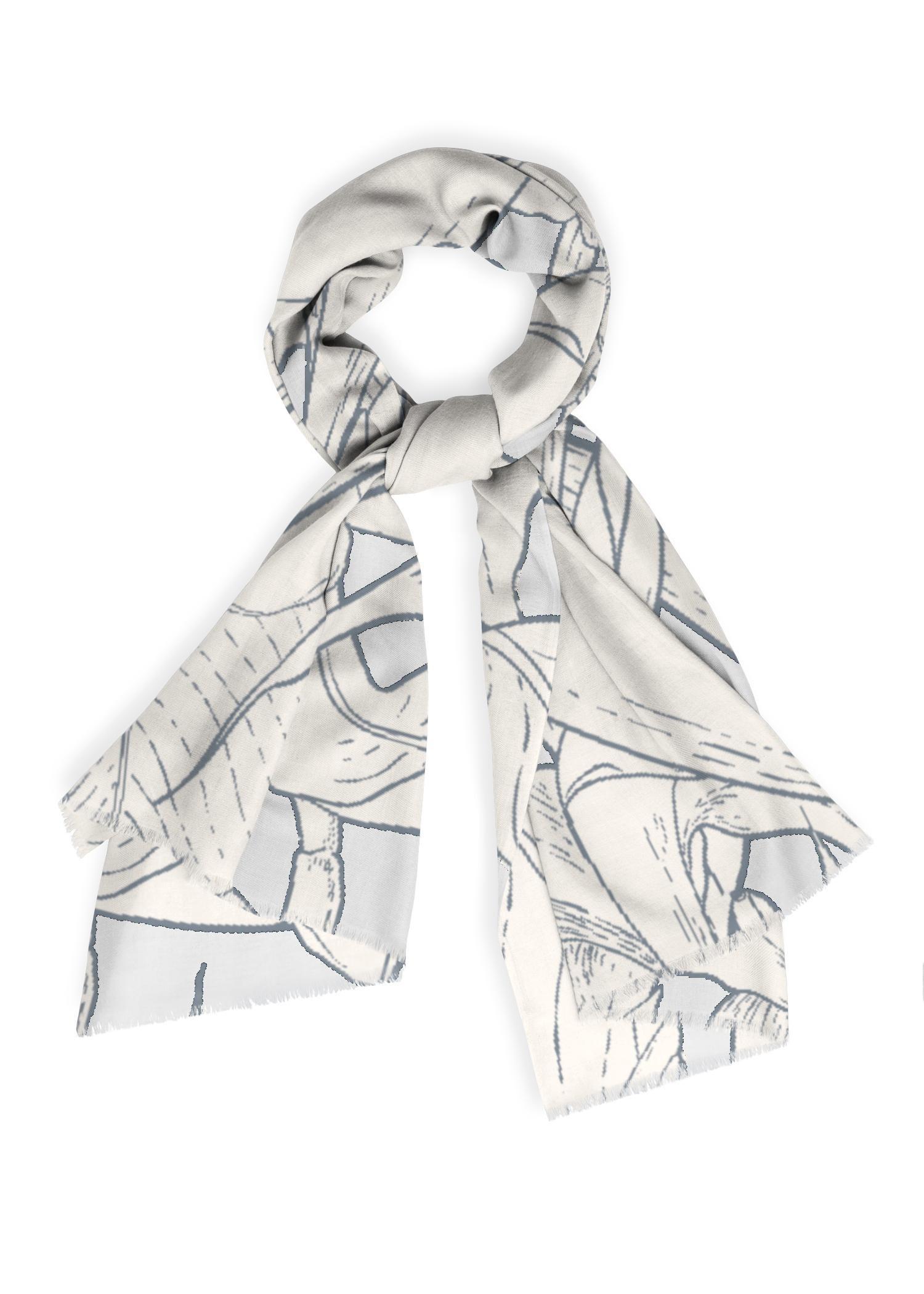 VIDA Cashmere Silk Scarf - Monochrome Garden by VIDA Original Artist  - Size: One Size