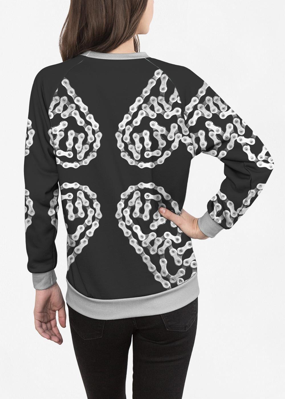 VIDA Women's Crewneck Sweatshirt - Bike Chain Heart by VIDA Original Artist  - Size: Small