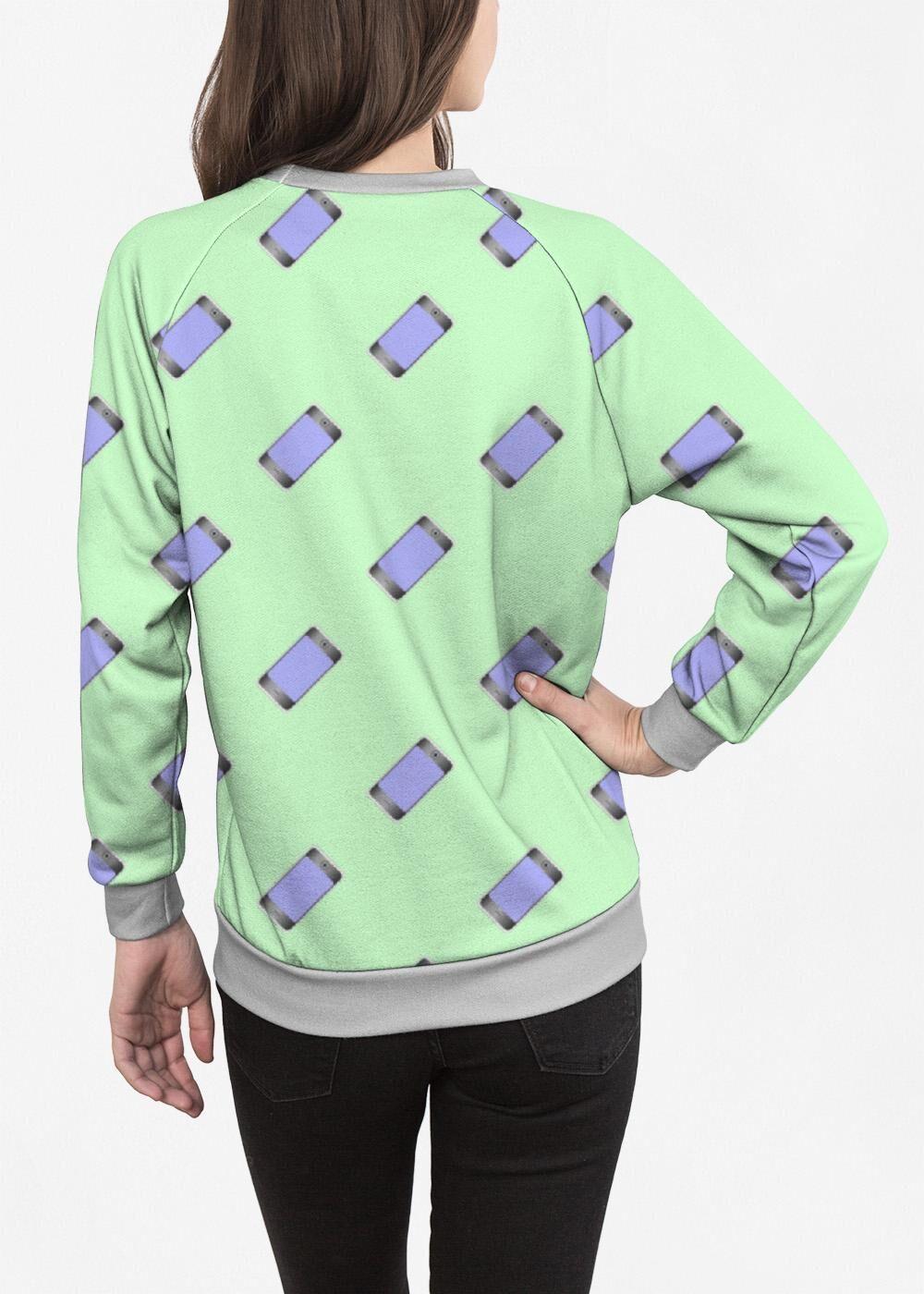 VIDA Women's Crewneck Sweatshirt - Mobile Phones On Green in Green by VIDA Original Artist  - Size: Black / 1X