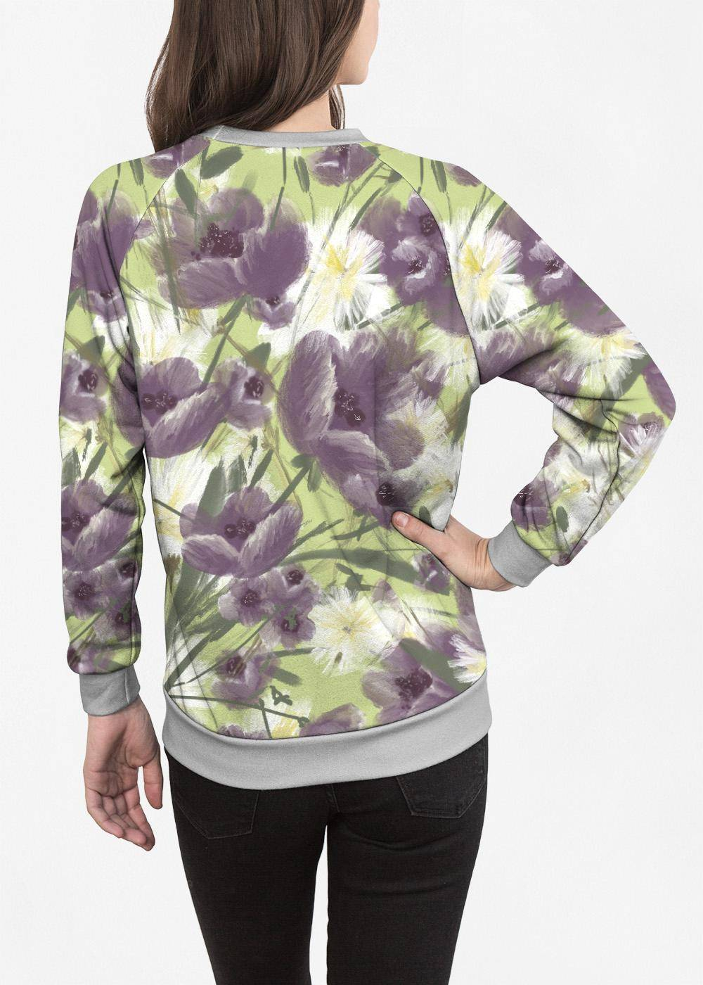 VIDA Women's Crewneck Sweatshirt - Mellow Garden Too by VIDA Original Artist  - Size: Large