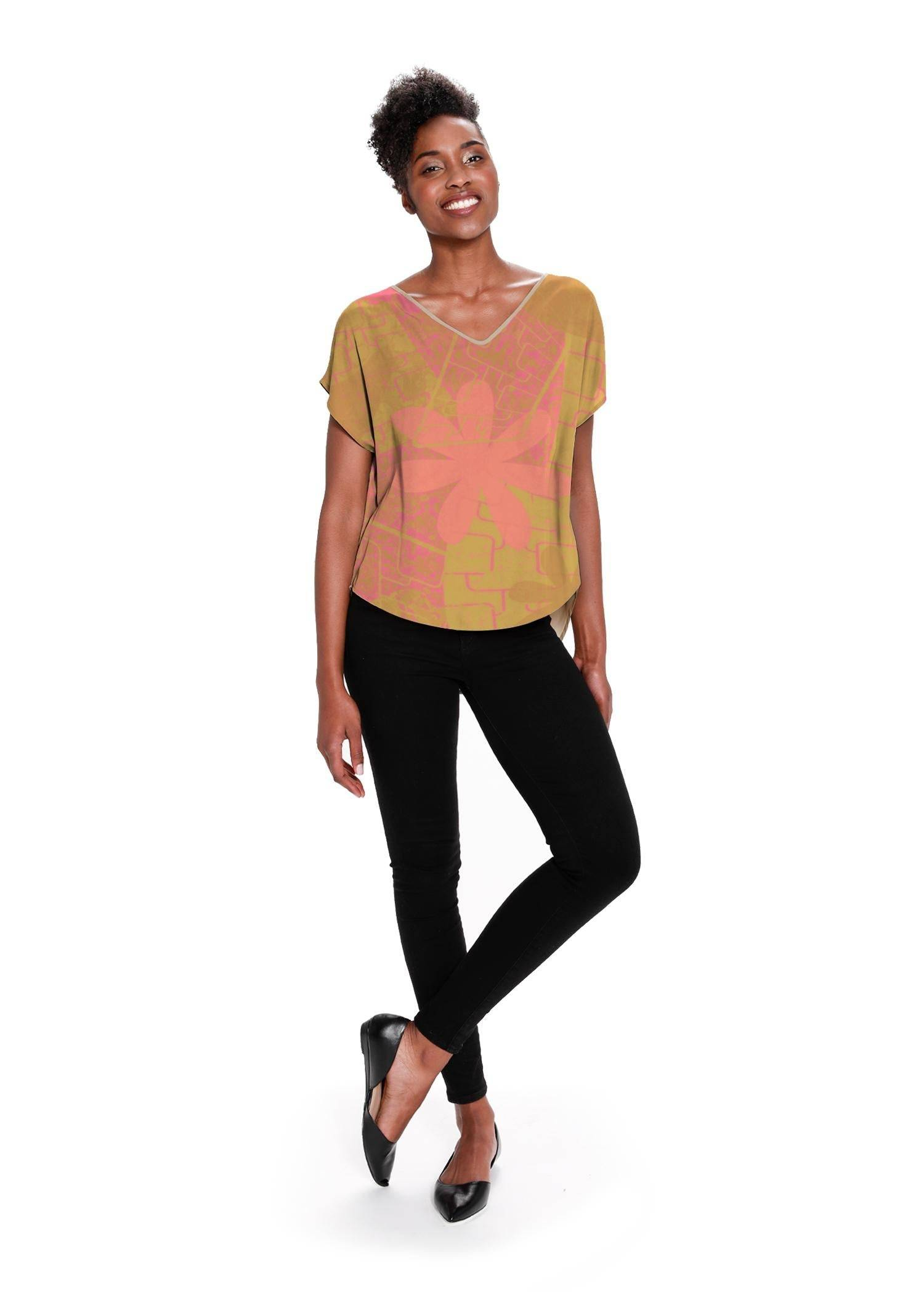 VIDA Women's V-Neck Top - Garden Trellis; Rose Gold by VIDA Original Artist  - Size: Small