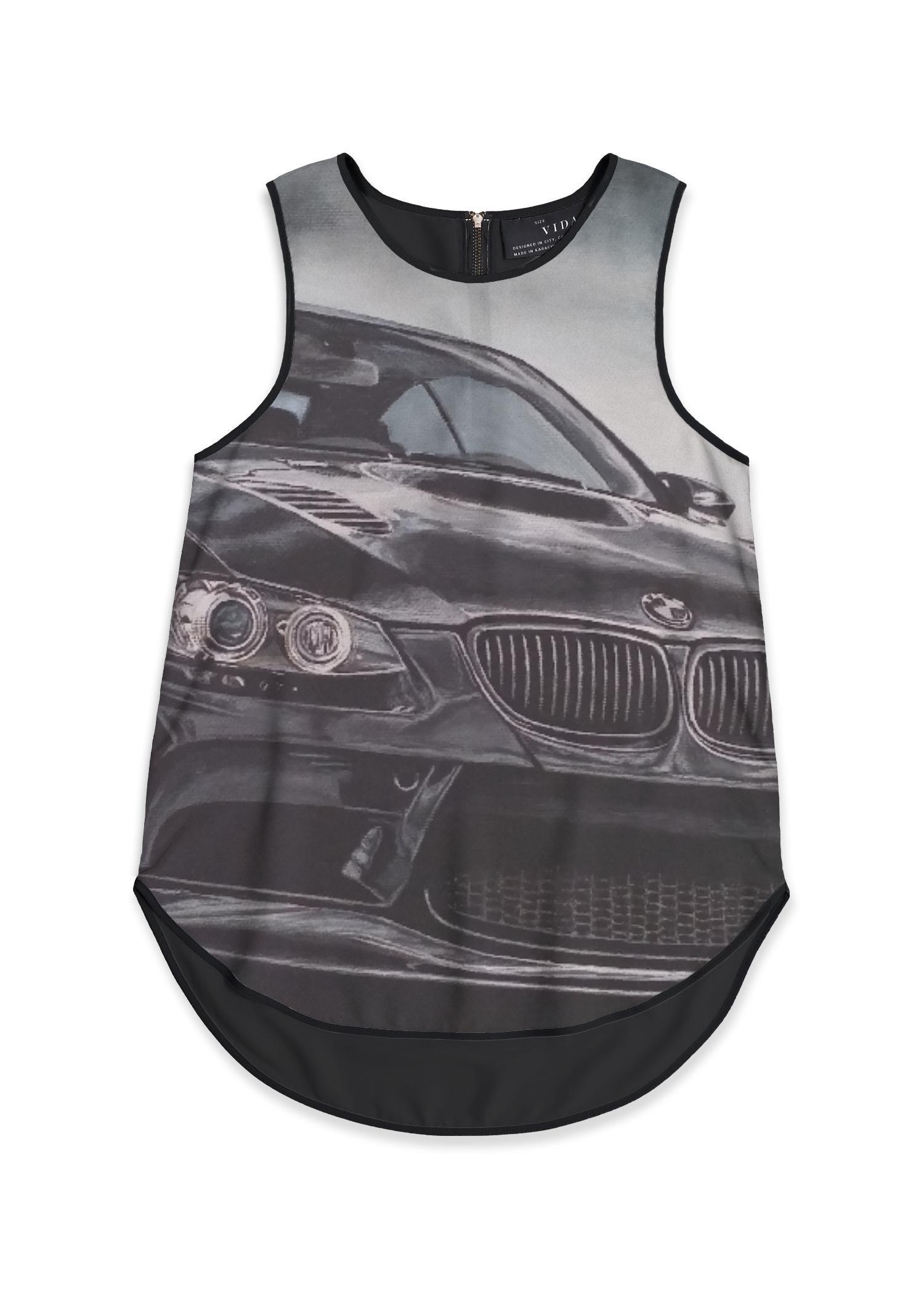 VIDA Sleeveless Top - Sport Car by VIDA Original Artist  - Size: Black / 2X