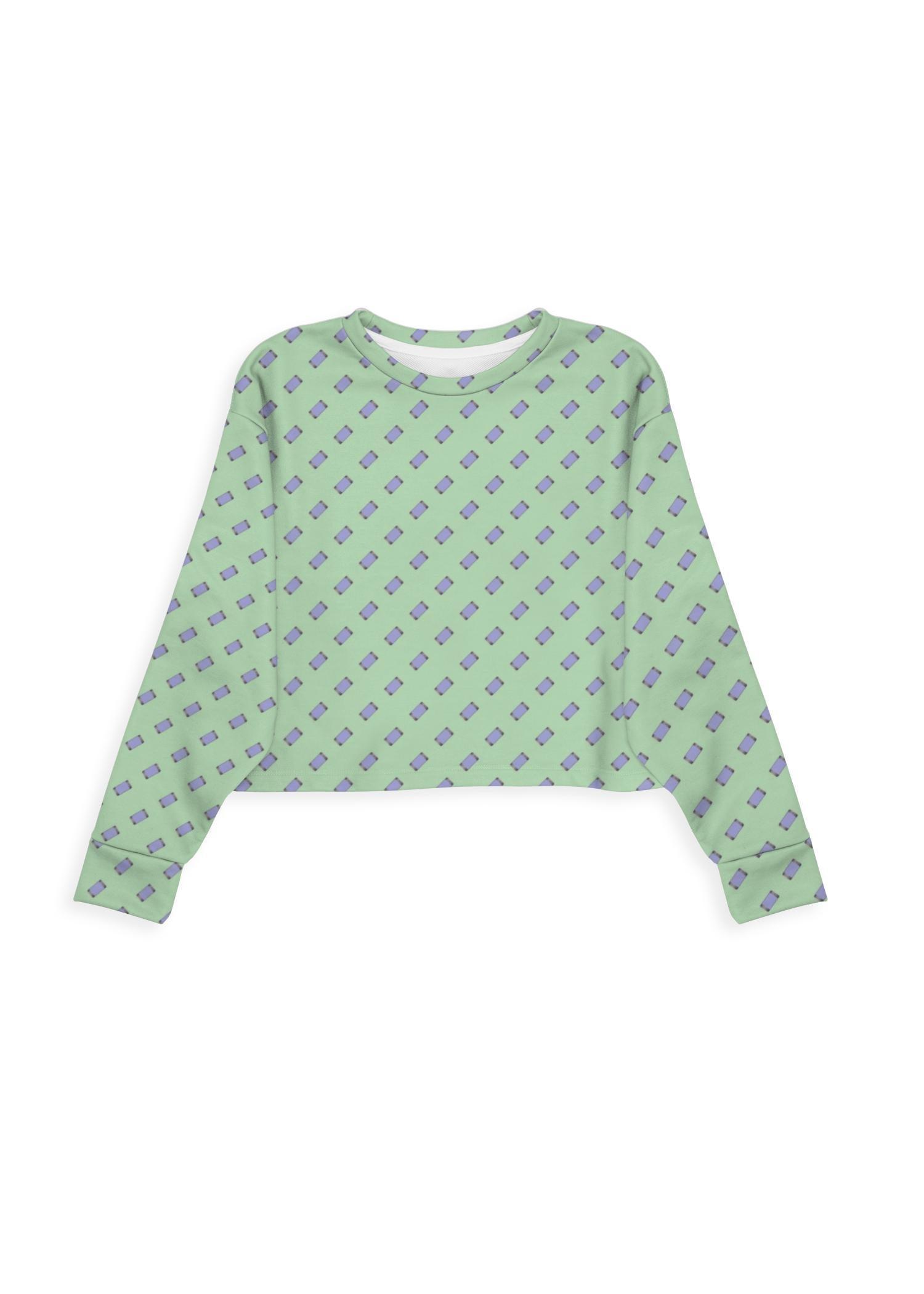 VIDA Modern Eco Sweatshirt - Mobile Phones On Green in Green by VIDA Original Artist  - Size: Extra Large