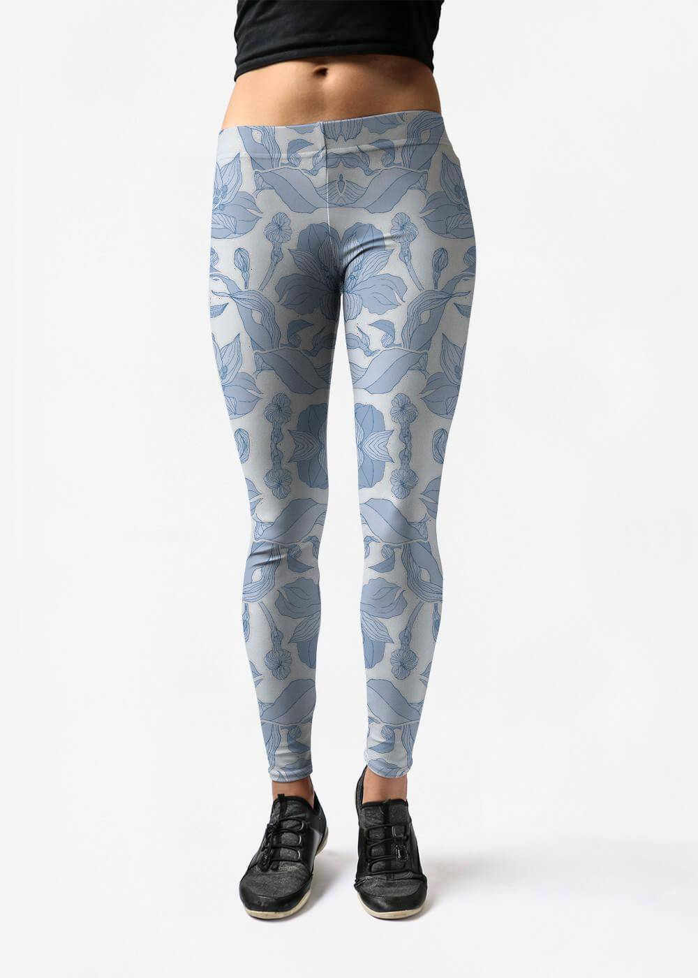 VIDA Leggings - Exotic Blue Garden by VIDA Original Artist  - Size: Large