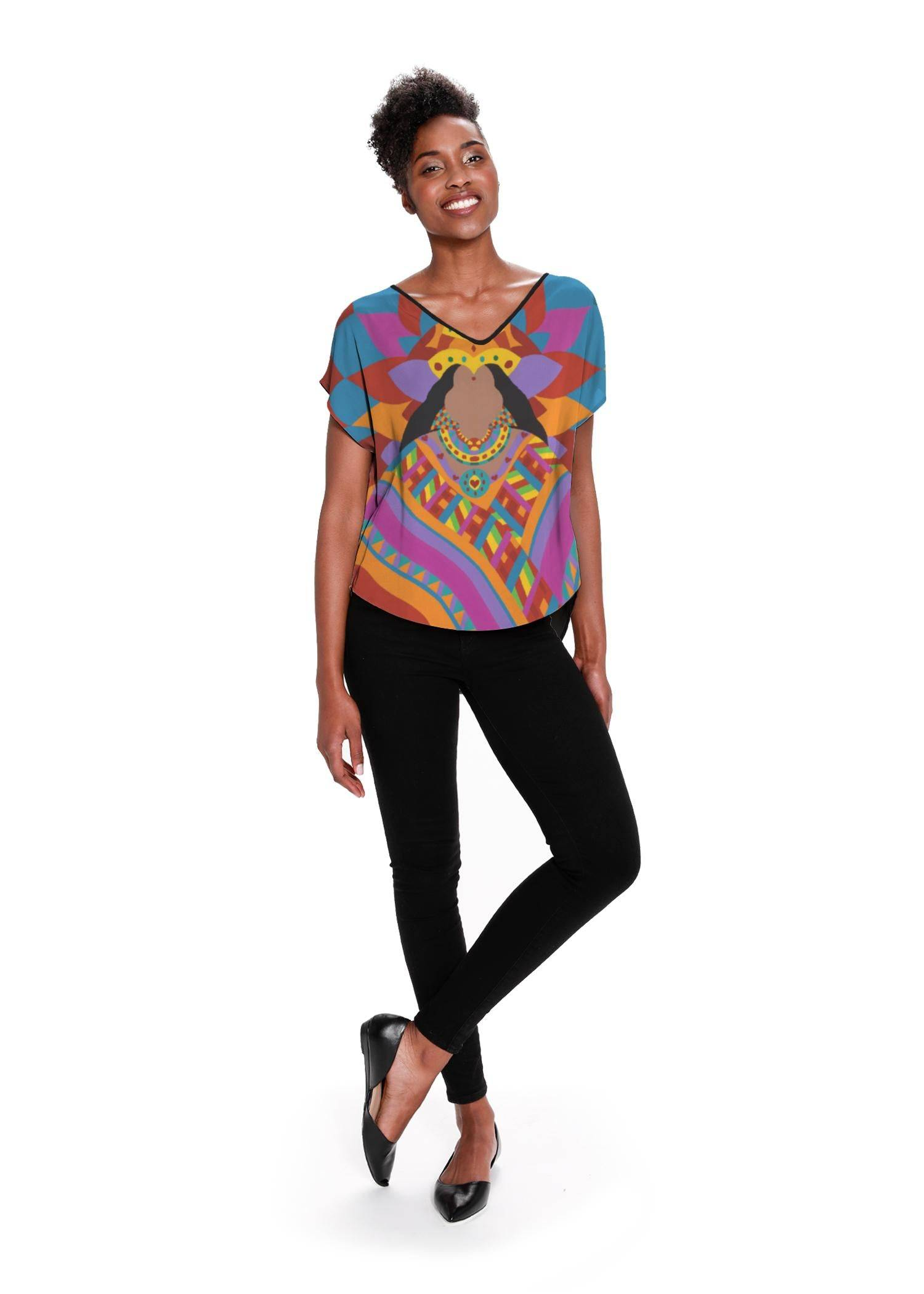 Synthia Saint James Women's V-Neck Top - Devi Lakshmi Rangoli by Synthia Saint James Original Artist  - Size: Black / 2X