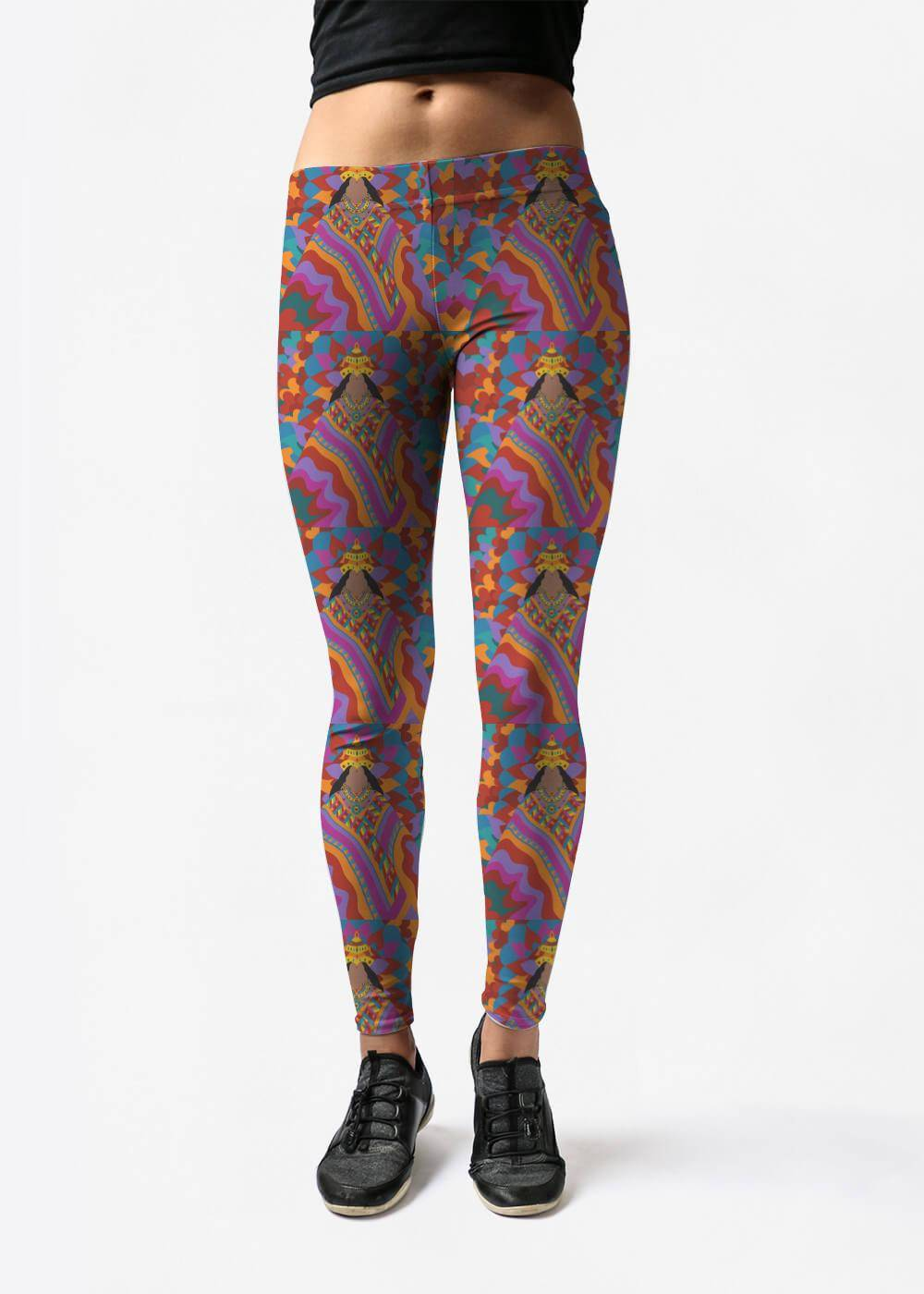 Synthia Saint James Leggings - Devi Lakshmi Rangoli by Synthia Saint James Original Artist  - Size: Large