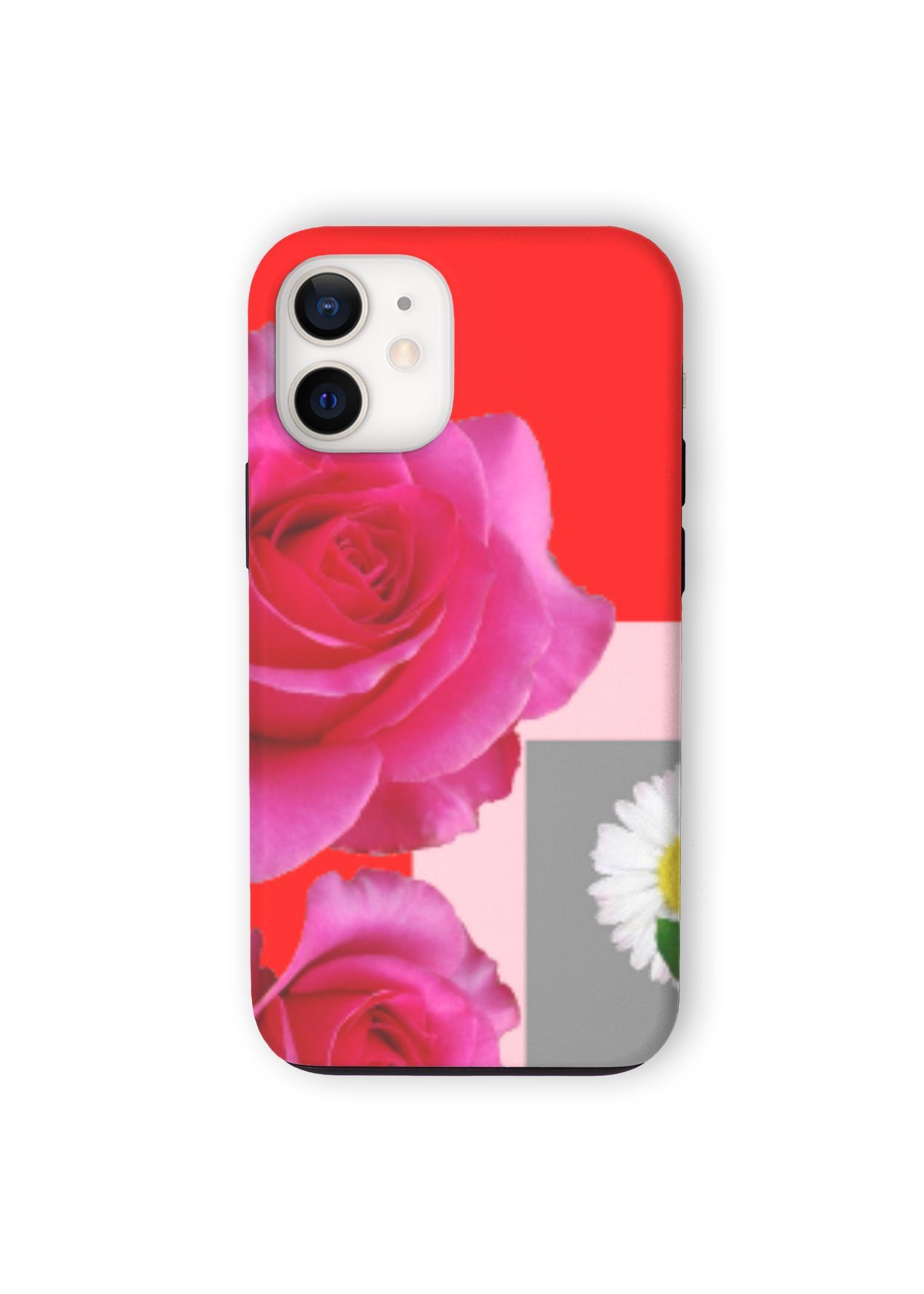 VIDA iPhone Case - Red Rose Garden Art by VIDA Original Artist  - Size: iPhone 12 Mini / Tough