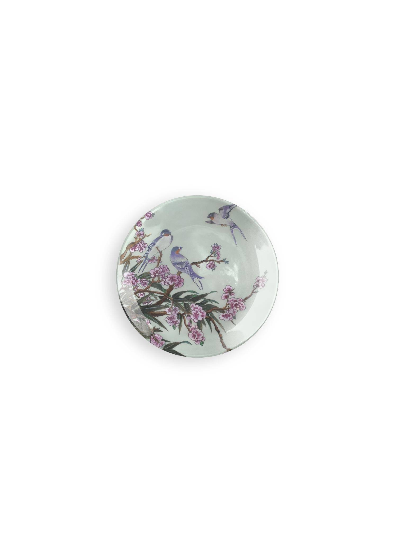 VIDA Round Glass Tray - Eastern Floral Garden by VIDA Original Artist  - Size: Small