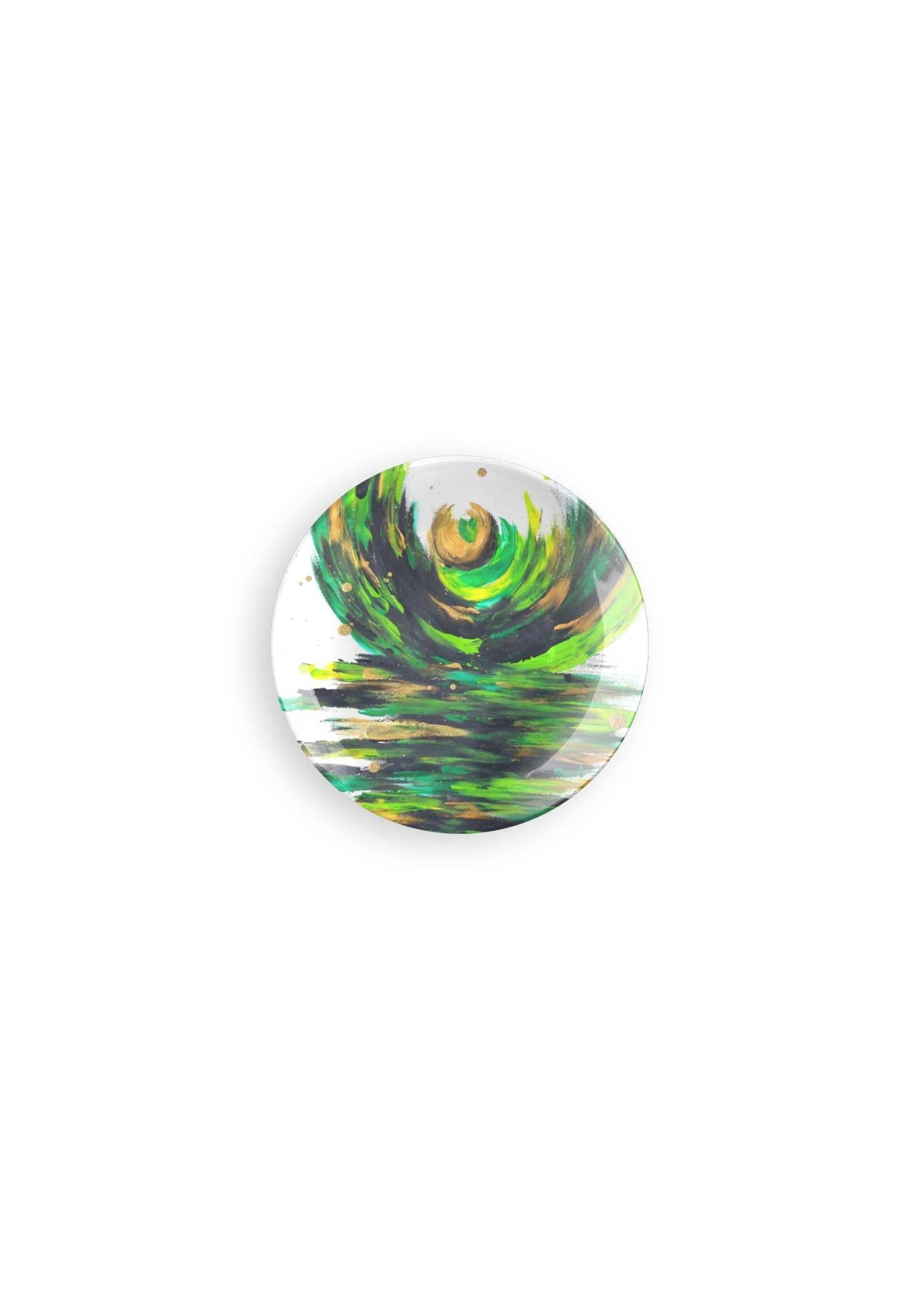 VIDA Round Glass Tray - Love Sees No Boundaries in Green/White/Yellow by VIDA Original Artist  - Size: Small