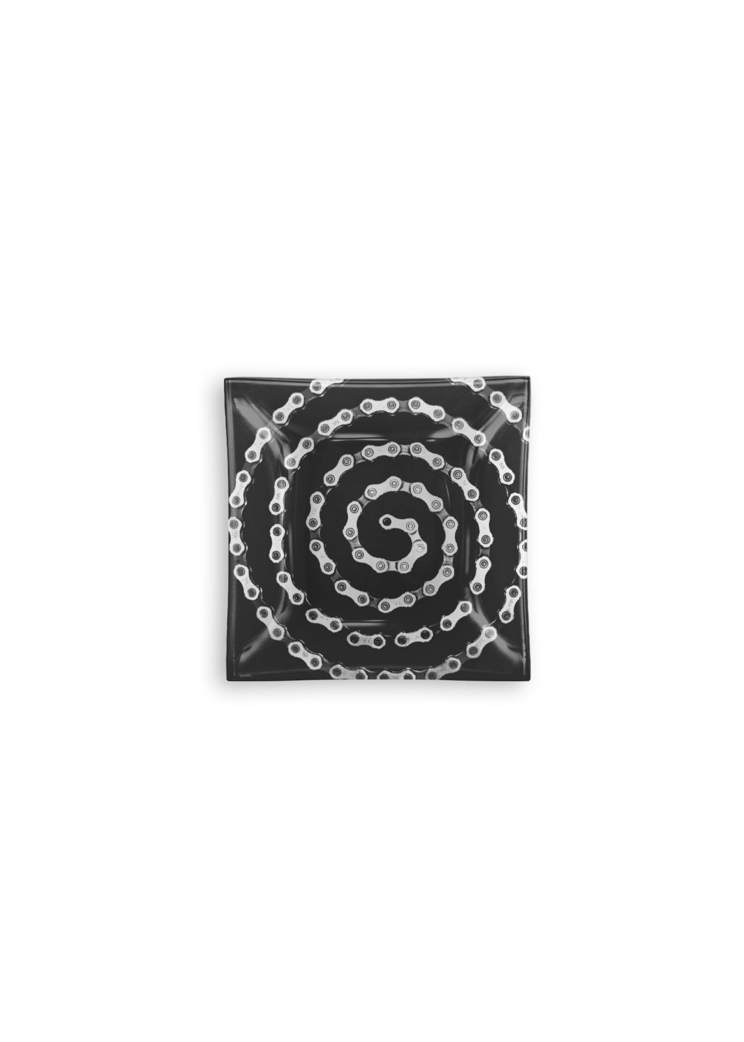 VIDA Square Glass Tray - Bike Chain Spiral by VIDA Original Artist  - Size: Small