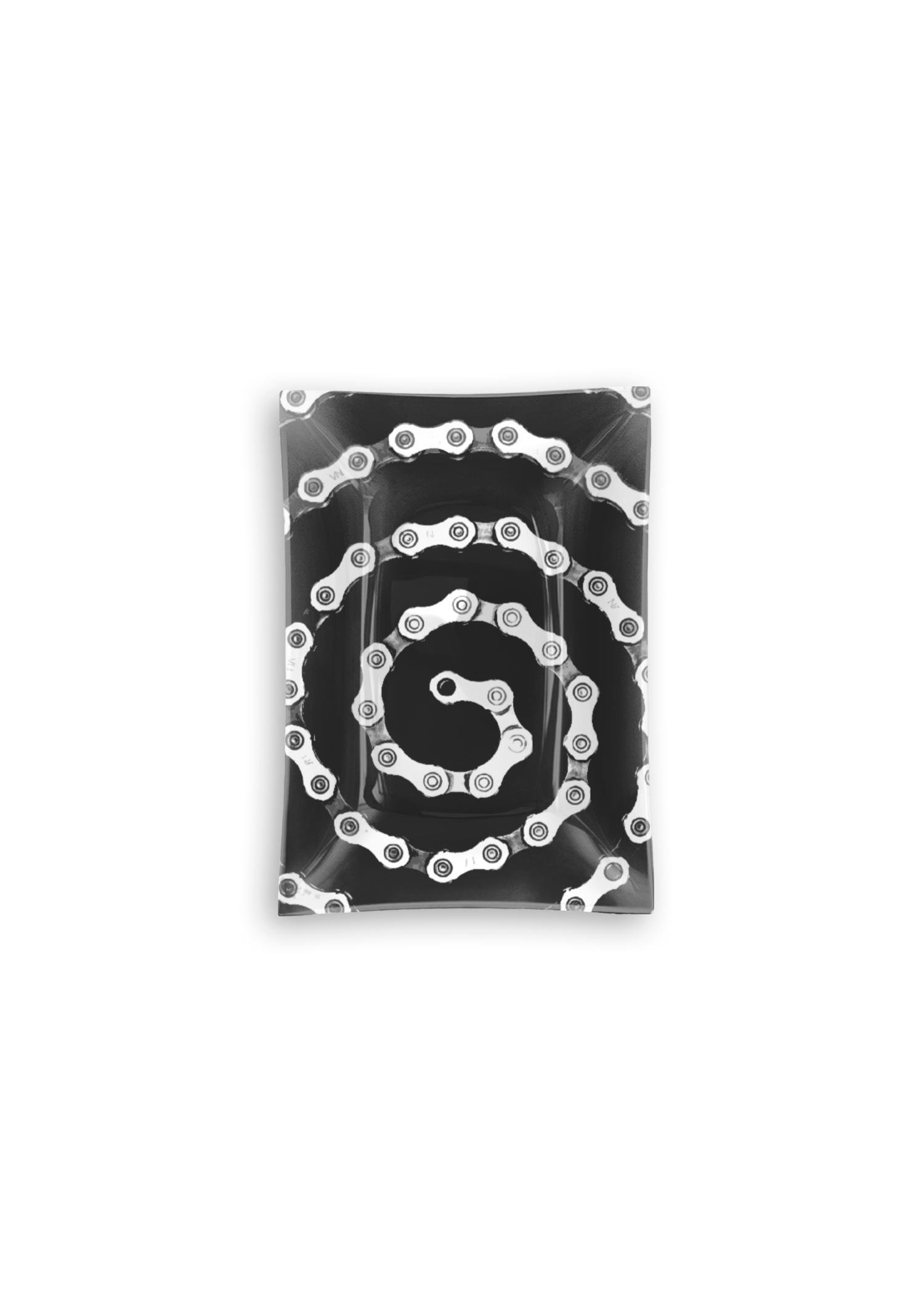 VIDA Oblong Glass Tray - Bike Chain Spiral by VIDA Original Artist  - Size: Small
