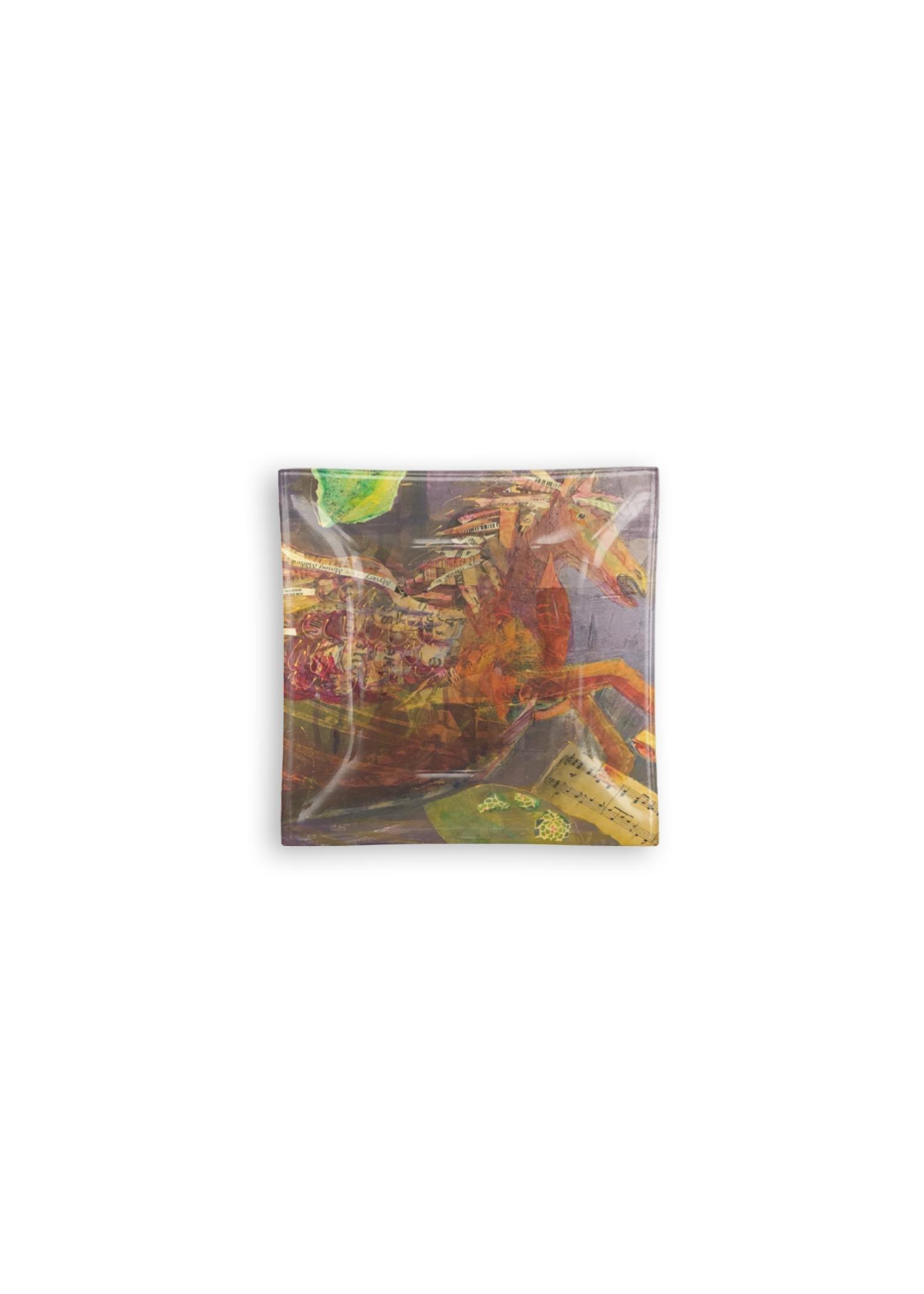 VIDA Square Glass Tray - Music In Flight by VIDA Original Artist  - Size: Large