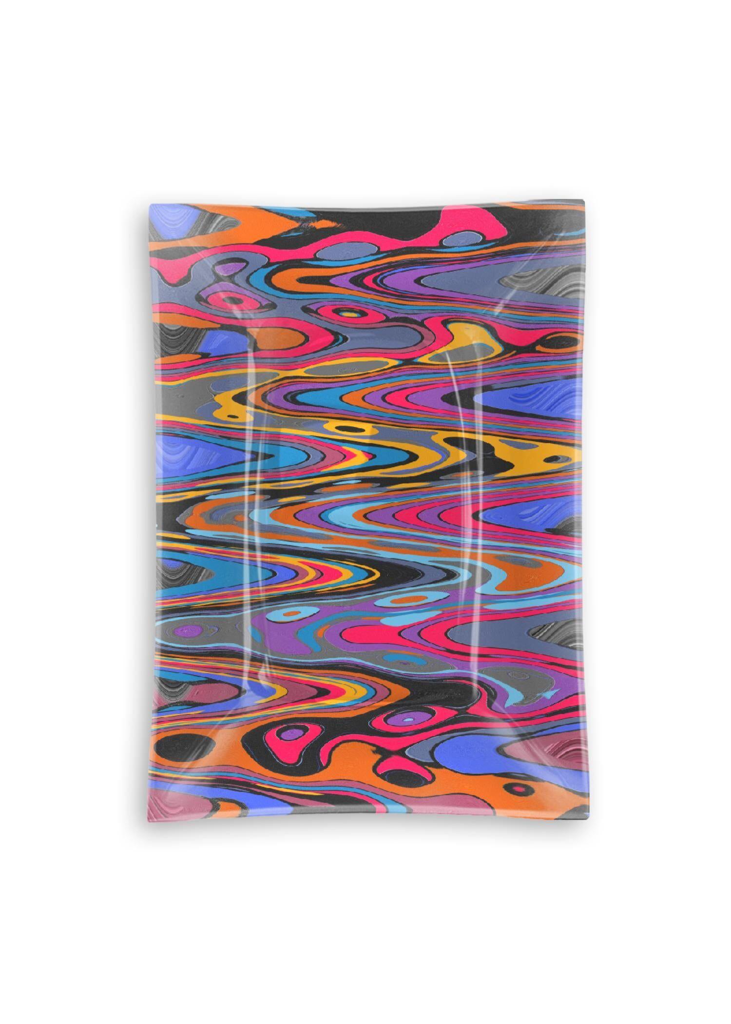 VIDA Oblong Glass Tray - Vibration Pop Music 2021 by VIDA Original Artist  - Size: Medium