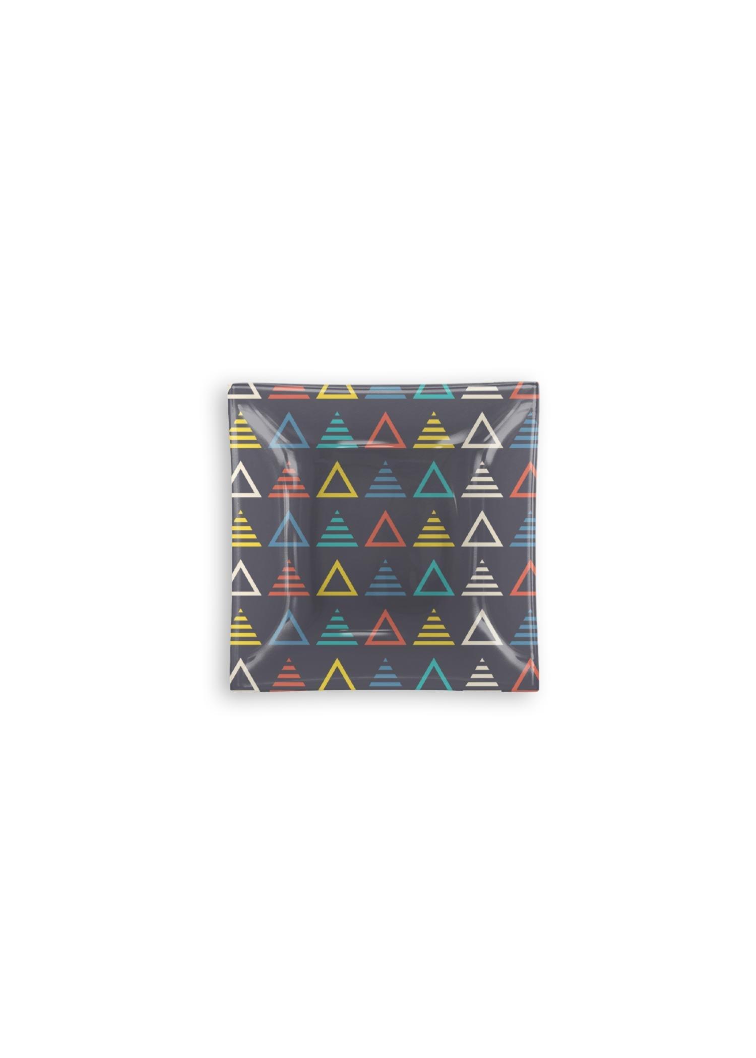 VIDA Square Glass Tray - Music Symmetric Triangle by VIDA Original Artist  - Size: Small