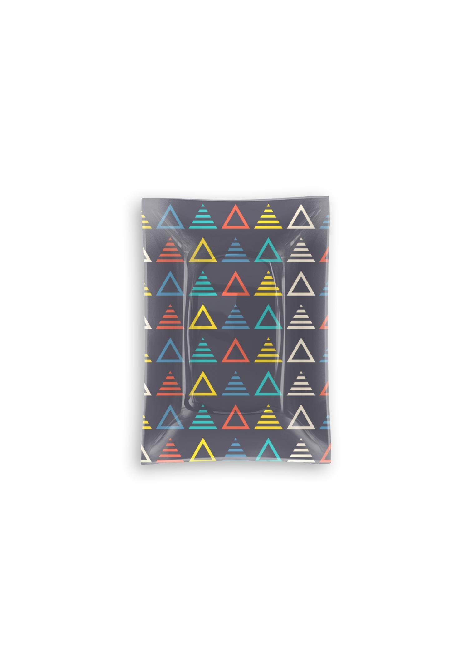 VIDA Oblong Glass Tray - Music Symmetric Triangle by VIDA Original Artist  - Size: Small