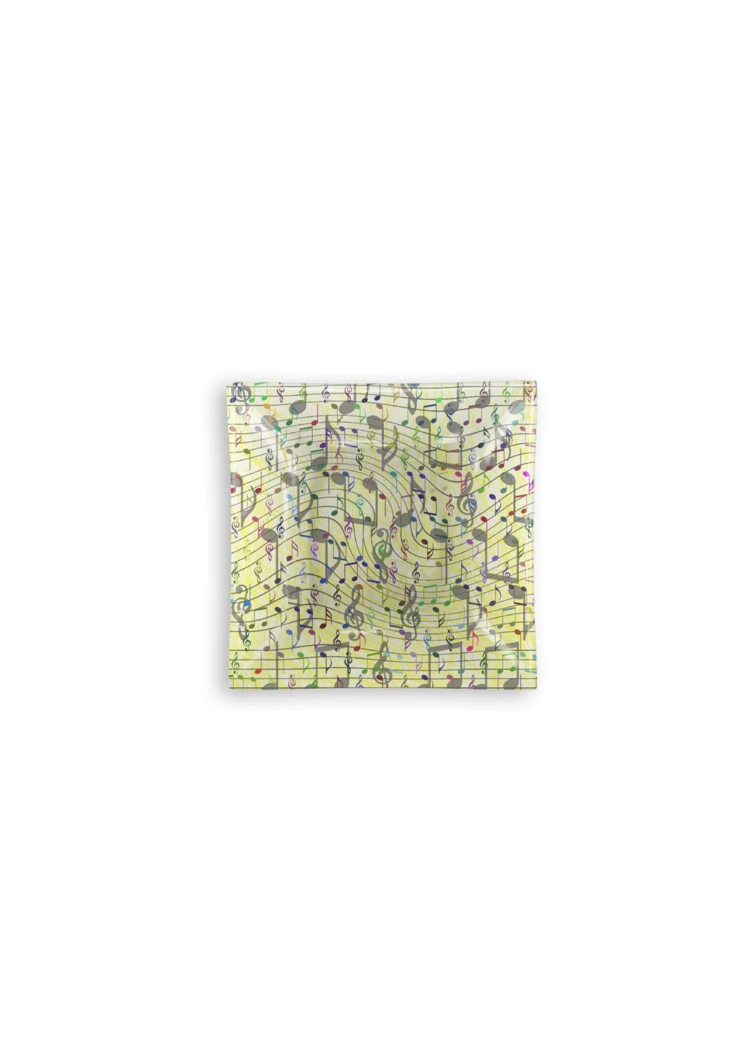 VIDA Square Glass Tray - Chaotic Music Notation by VIDA Original Artist  - Size: Large