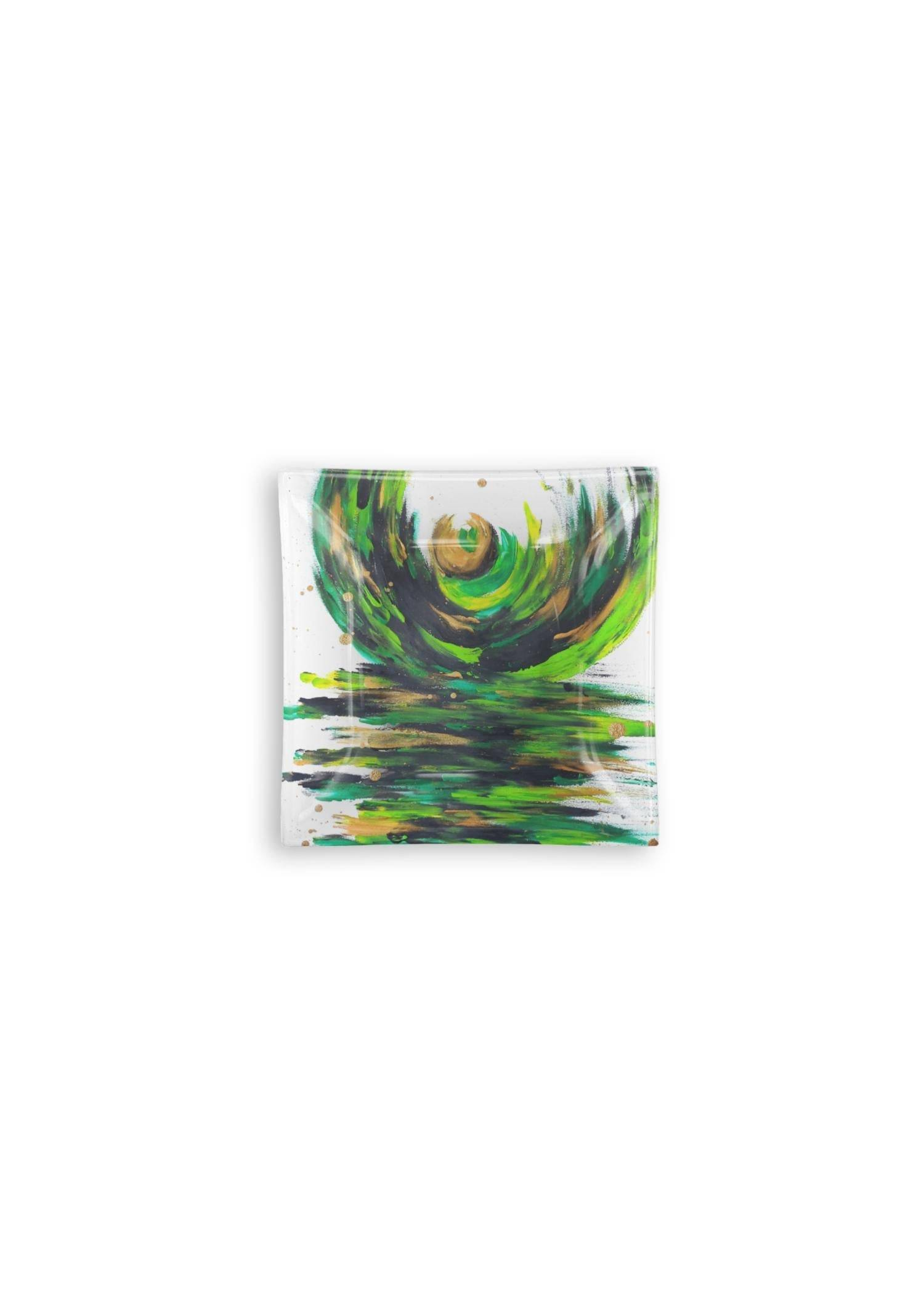 VIDA Square Glass Tray - Love Sees No Boundaries in Green/White/Yellow by VIDA Original Artist  - Size: Small