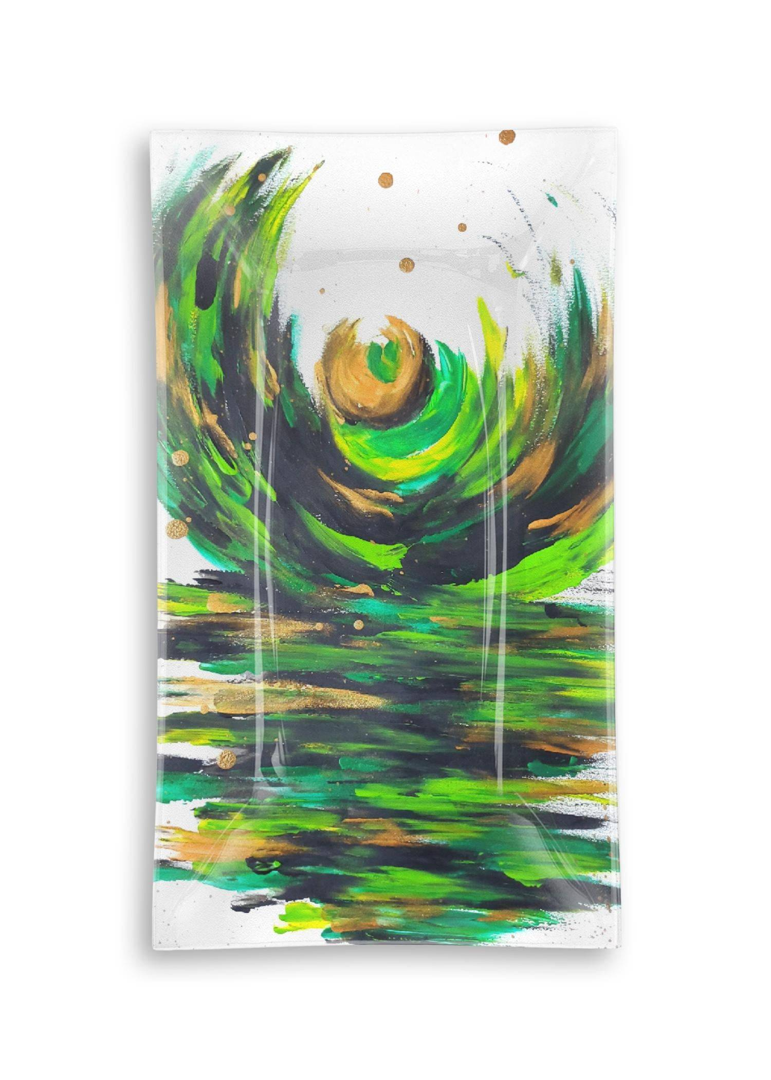 VIDA Oblong Glass Tray - Love Sees No Boundaries in Green/White/Yellow by VIDA Original Artist  - Size: Large