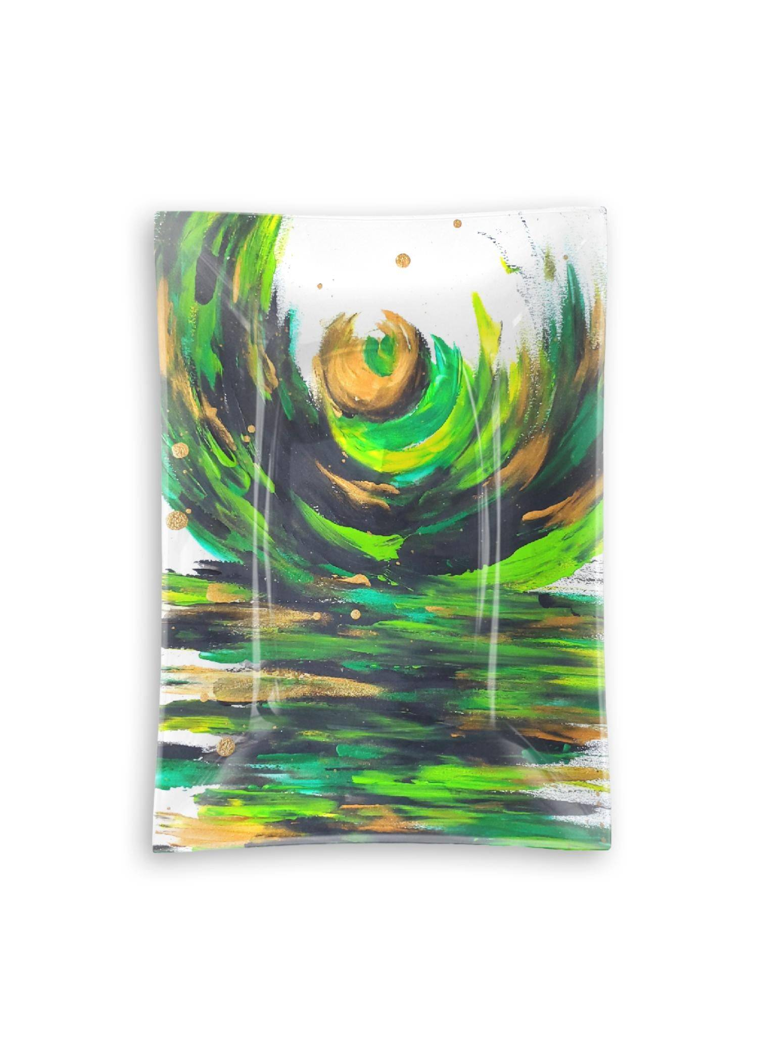 VIDA Oblong Glass Tray - Love Sees No Boundaries in Green/White/Yellow by VIDA Original Artist  - Size: Medium