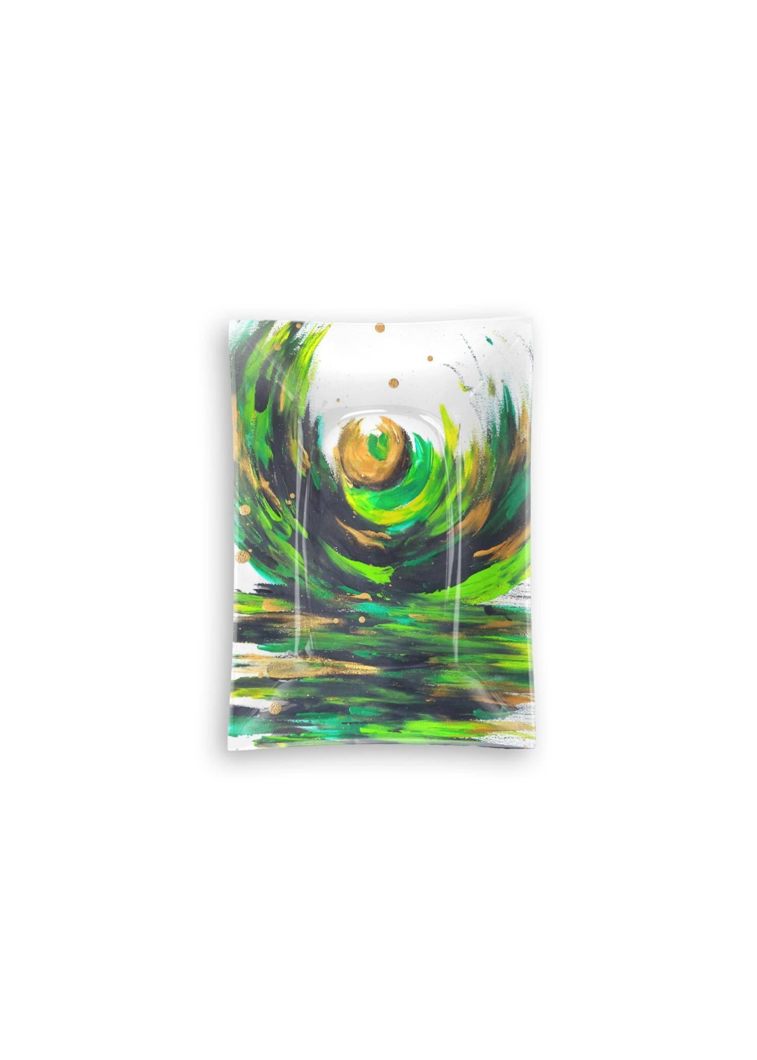VIDA Oblong Glass Tray - Love Sees No Boundaries in Green/White/Yellow by VIDA Original Artist  - Size: Small