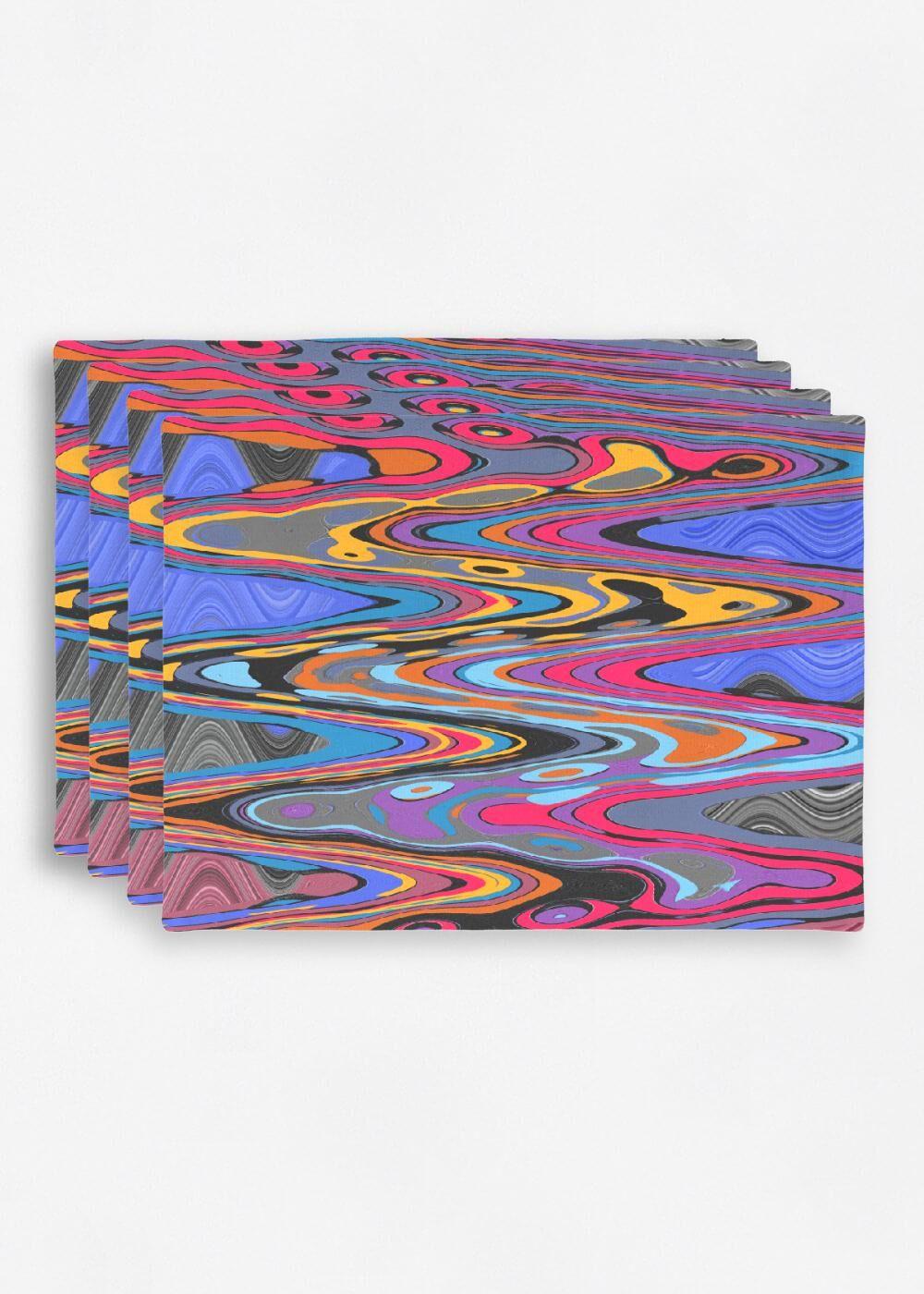 VIDA Placemat Set - Vibration Pop Music 2021 by VIDA Original Artist  - Size: Set of 4
