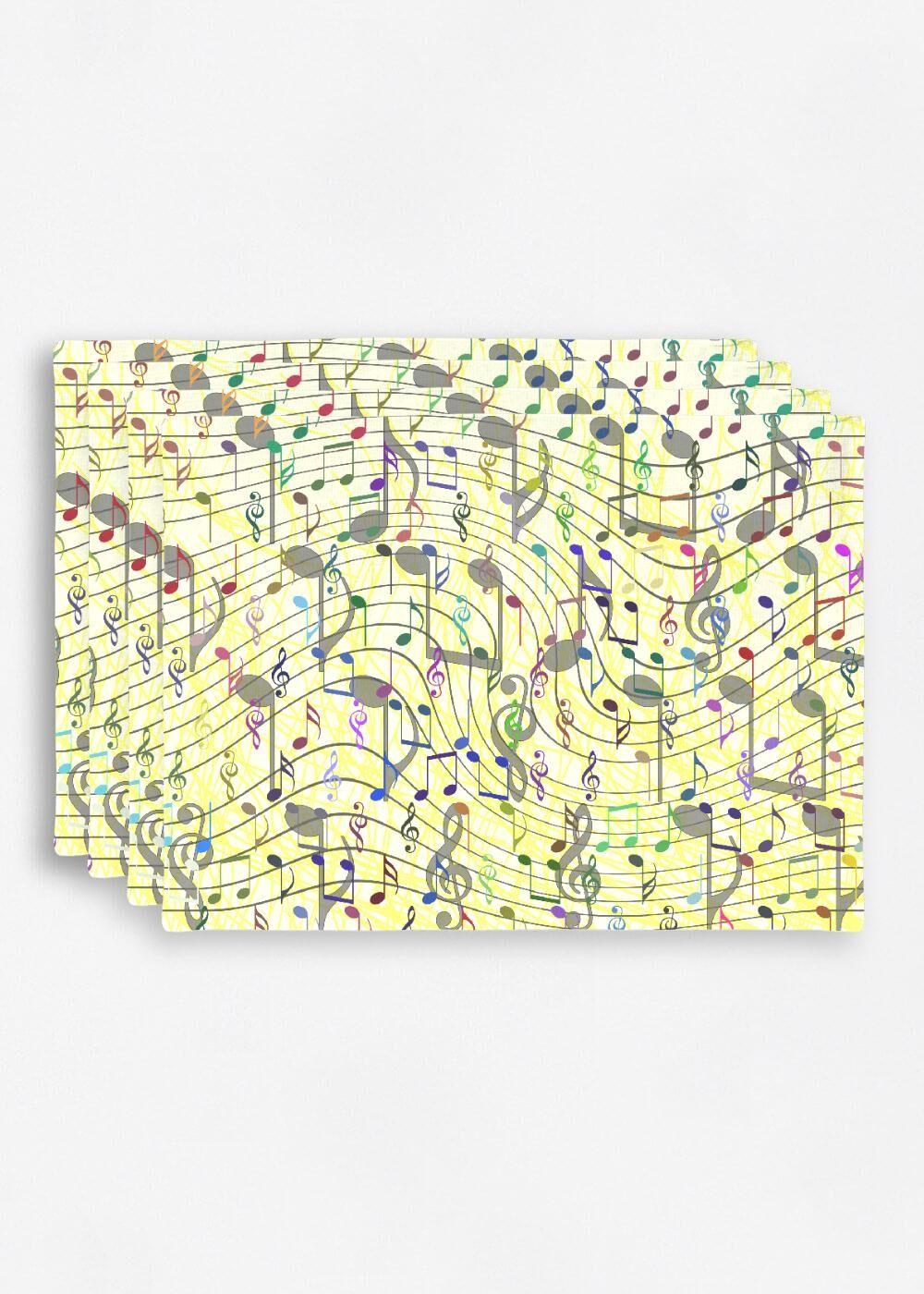 VIDA Placemat Set - Chaotic Music Notation by VIDA Original Artist  - Size: Set of 4