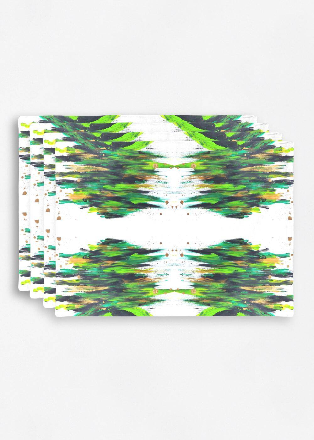 VIDA Placemat Set - Love Sees No Boundaries in Green/White/Yellow by VIDA Original Artist  - Size: Set of 4